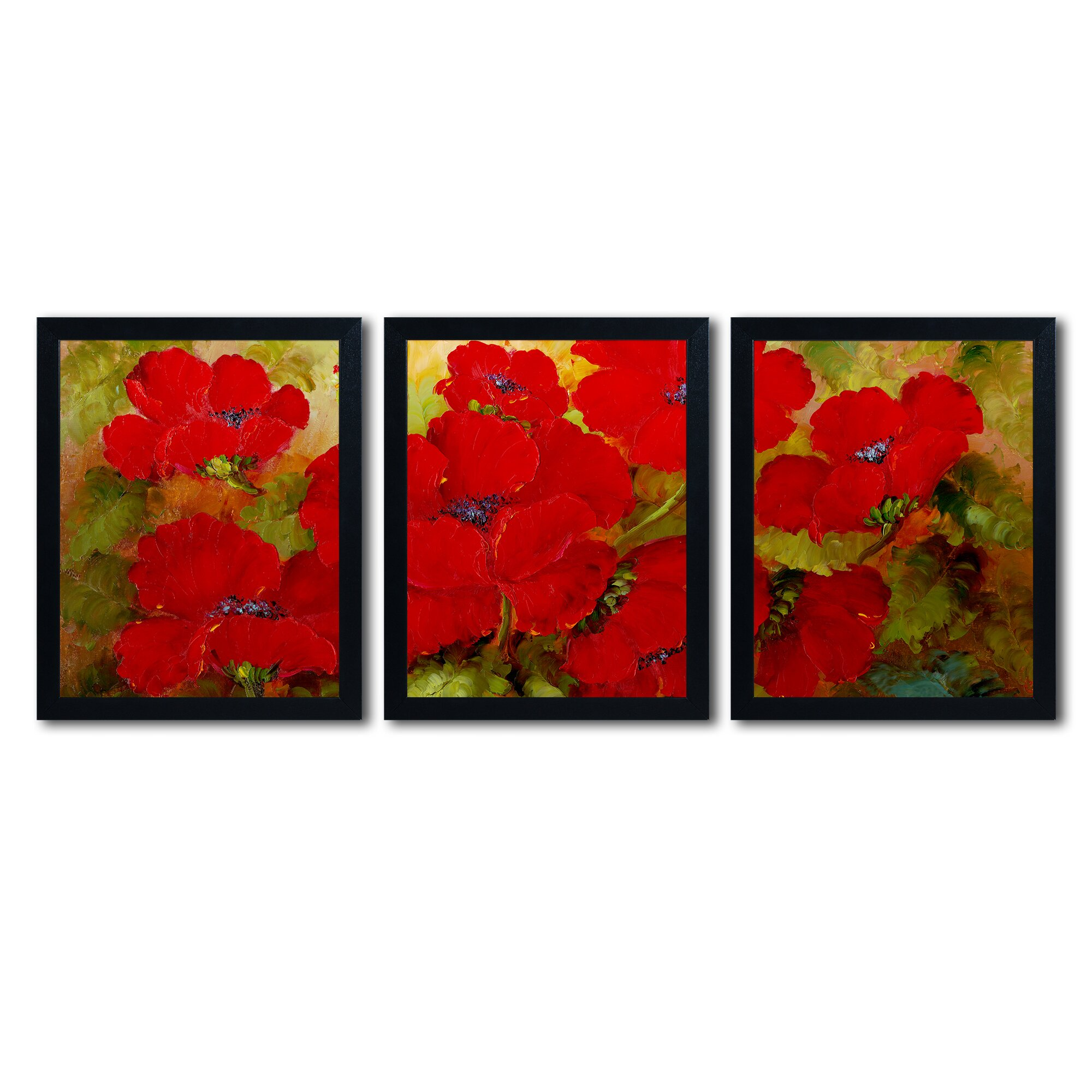 poppies 3 piece framed painting print set by trademark art