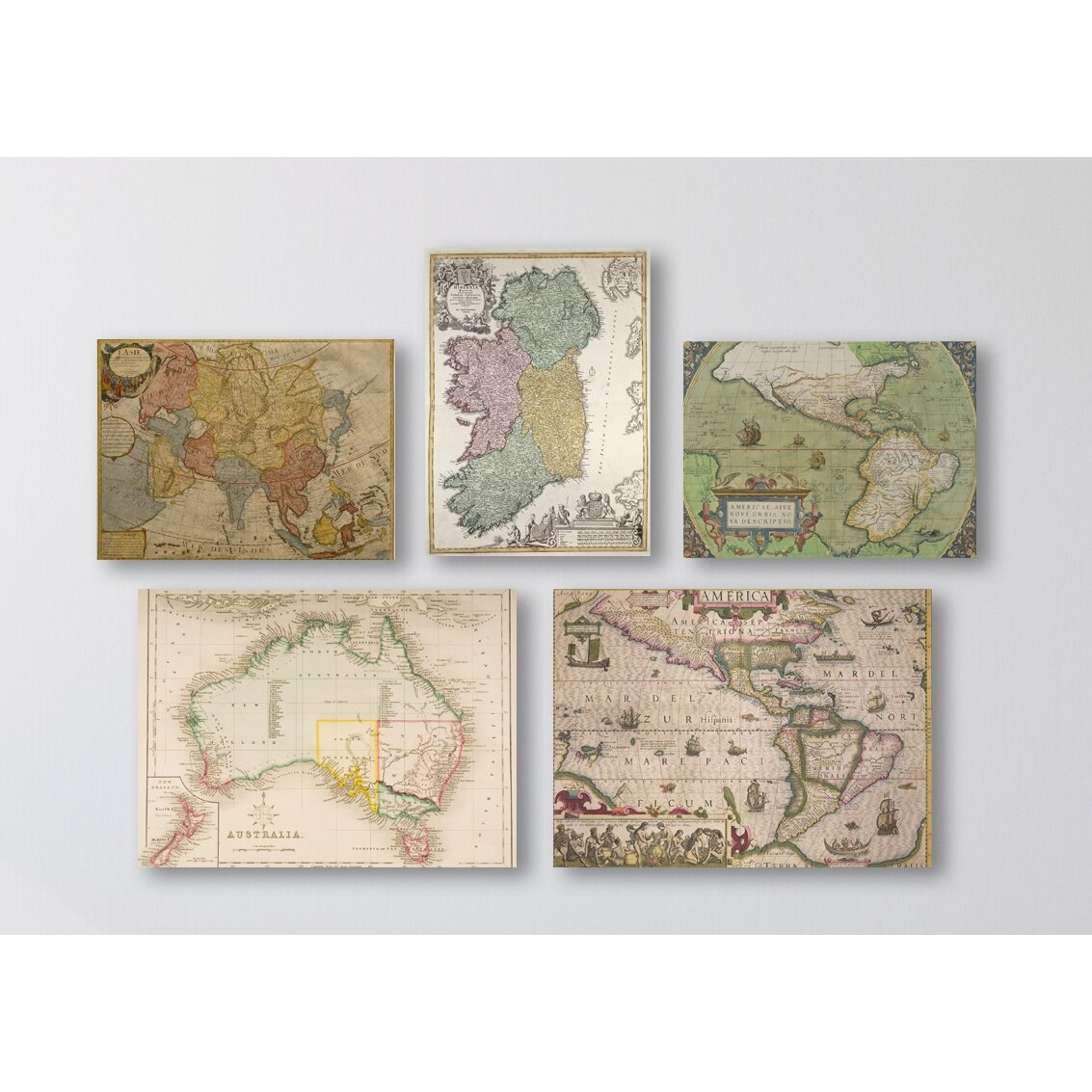 Wall Decor Set Of 5 : Trademark art vintage maps wall piece graphic on