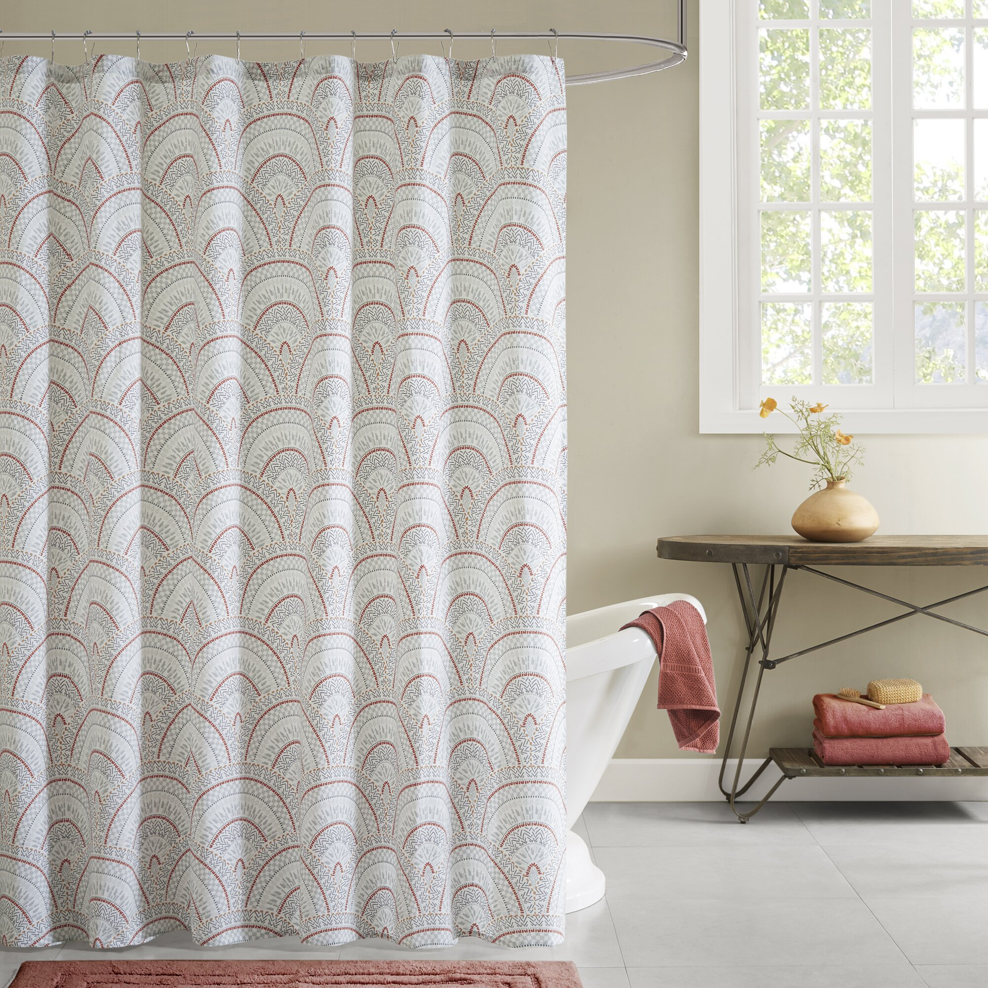Ink Ivy Muriel Cotton Printed Shower Curtain