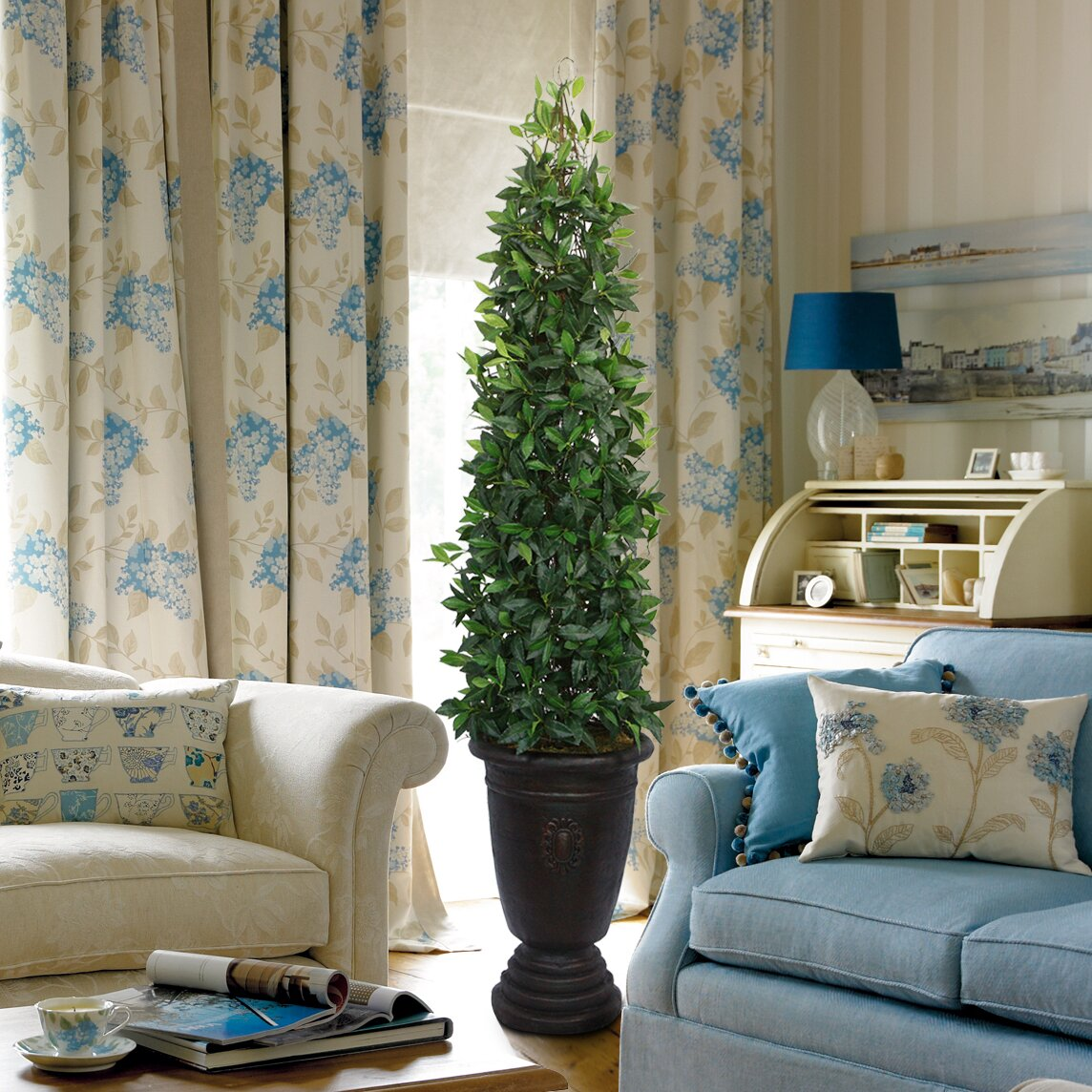 laura ashley home silk bay leaf tower vine topiary in urn reviews wayfair. Black Bedroom Furniture Sets. Home Design Ideas