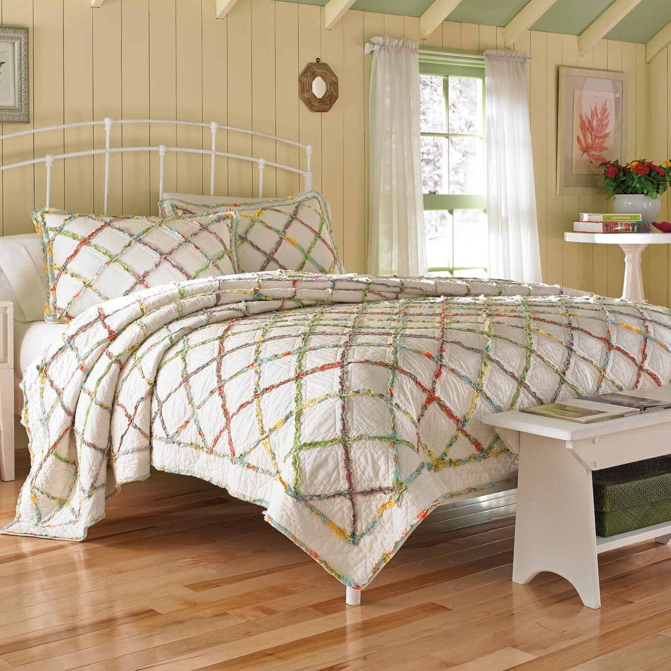 laura ashley home ruffled garden reversible quilt reviews wayfair. Black Bedroom Furniture Sets. Home Design Ideas