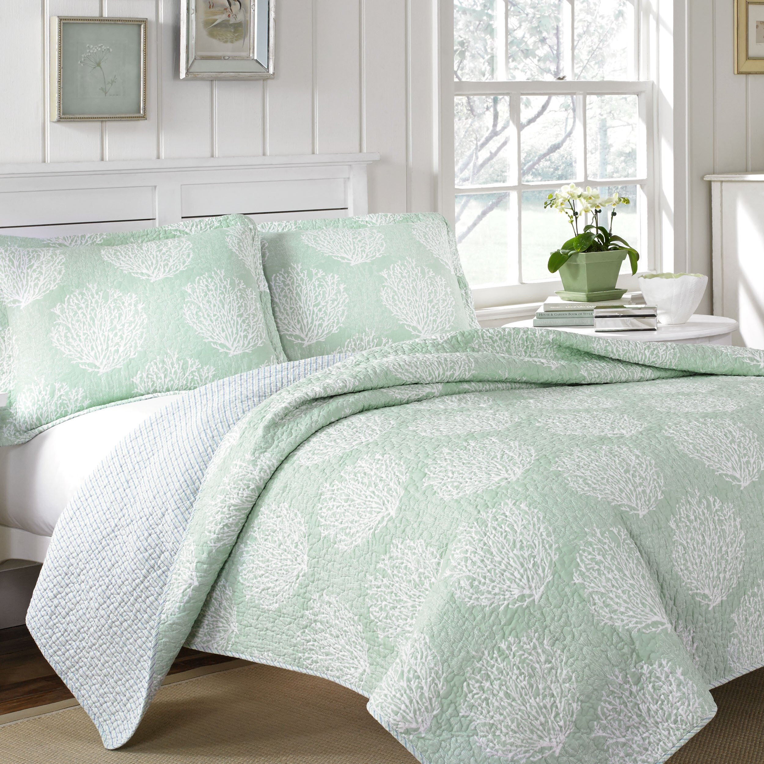 laura ashley home laura ashley coral coast 3 piece quilt set reviews wayfair. Black Bedroom Furniture Sets. Home Design Ideas