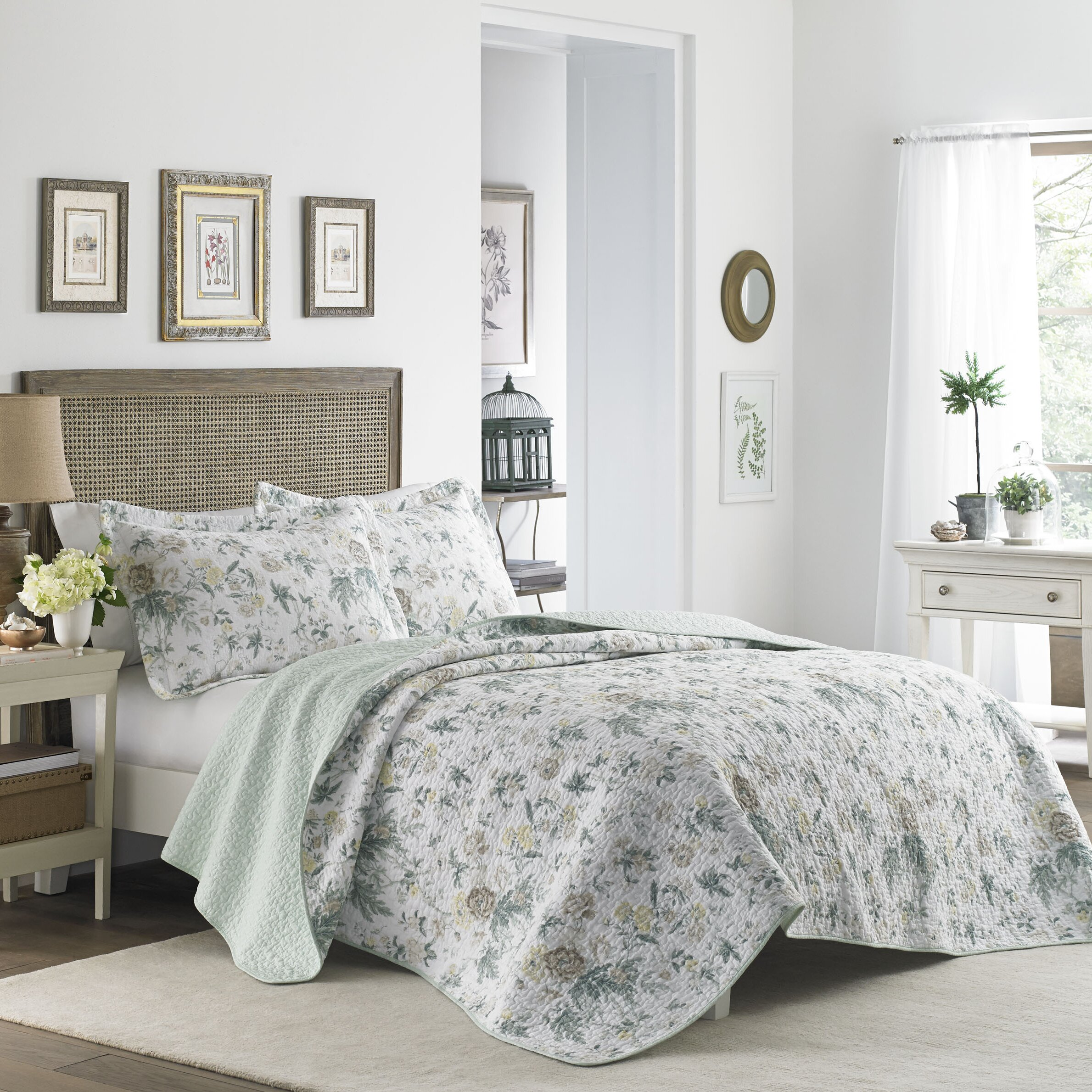 laura ashley home breezy floral quilt set reviews wayfair. Black Bedroom Furniture Sets. Home Design Ideas