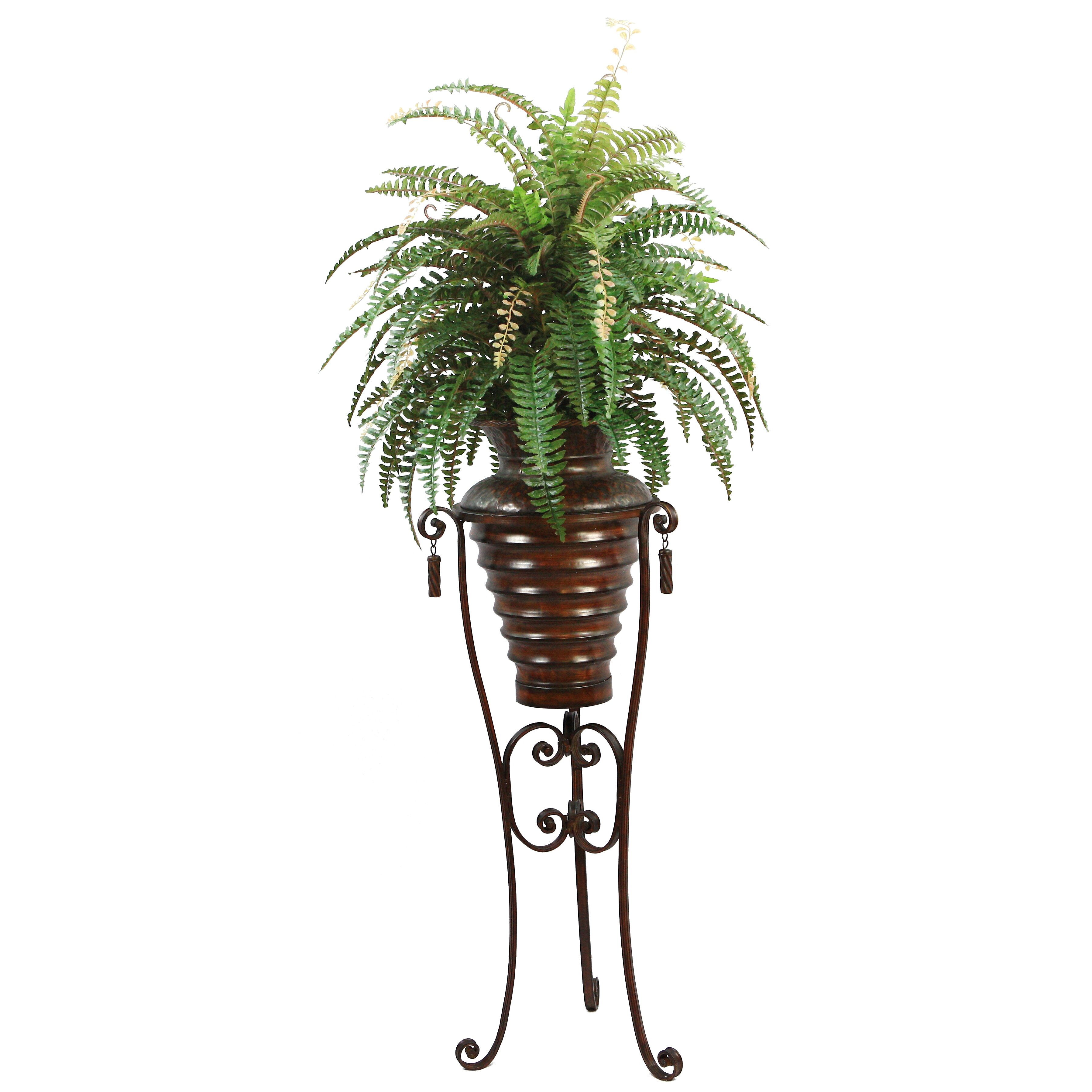 Boston Christmas Tree Delivery: Laura Ashley Home Silk Boston Fern Floor Plant In Metal