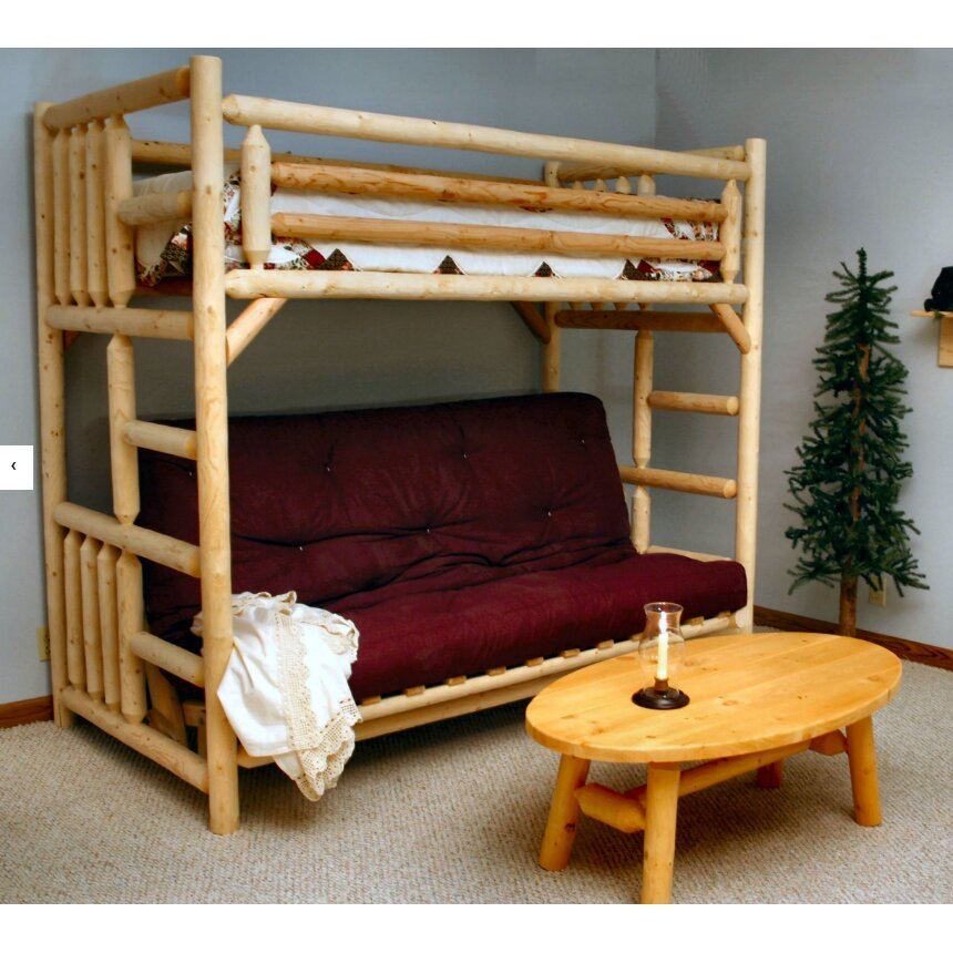 Lakeland mills twin over futon bunk bed wayfair for Twin bed over futon