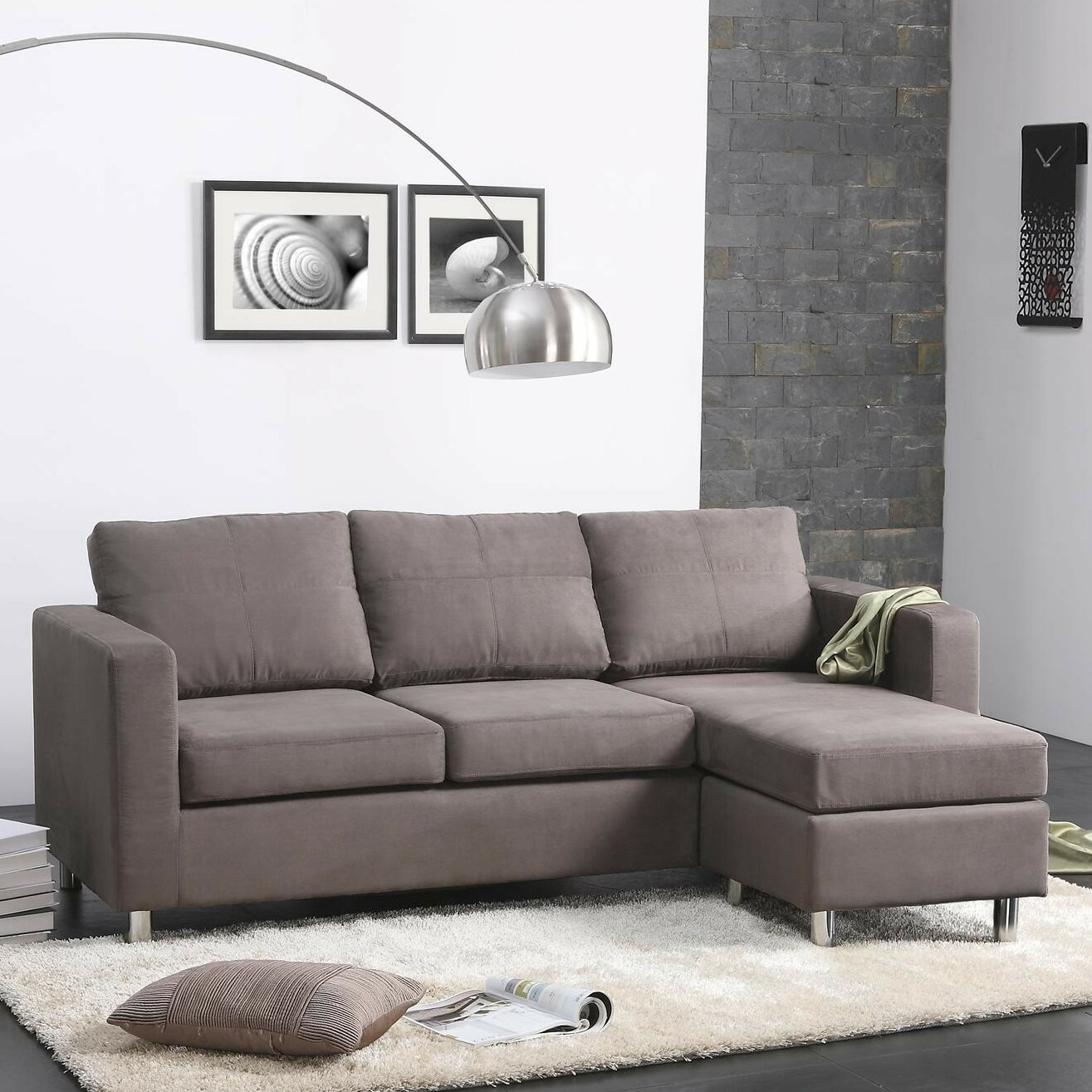 Dorel living small spaces right hand facing sectional for Small sectional sofa reviews