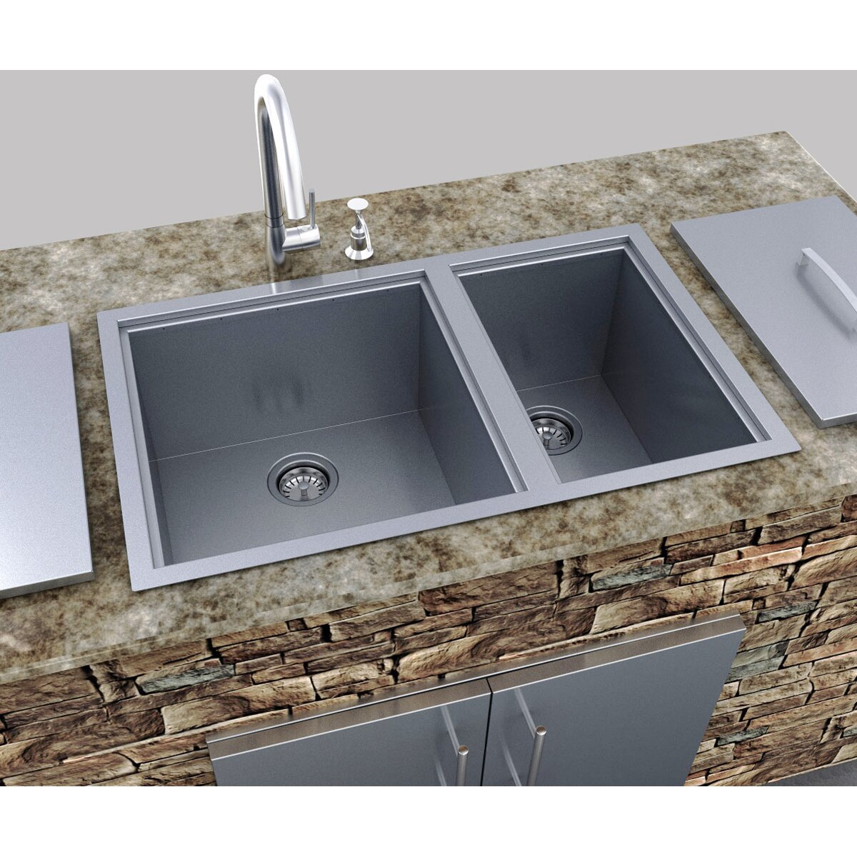 Outdoor Kitchen Sinks: Sunstone Grills Outdoor Kitchen Over / Under Double Basin