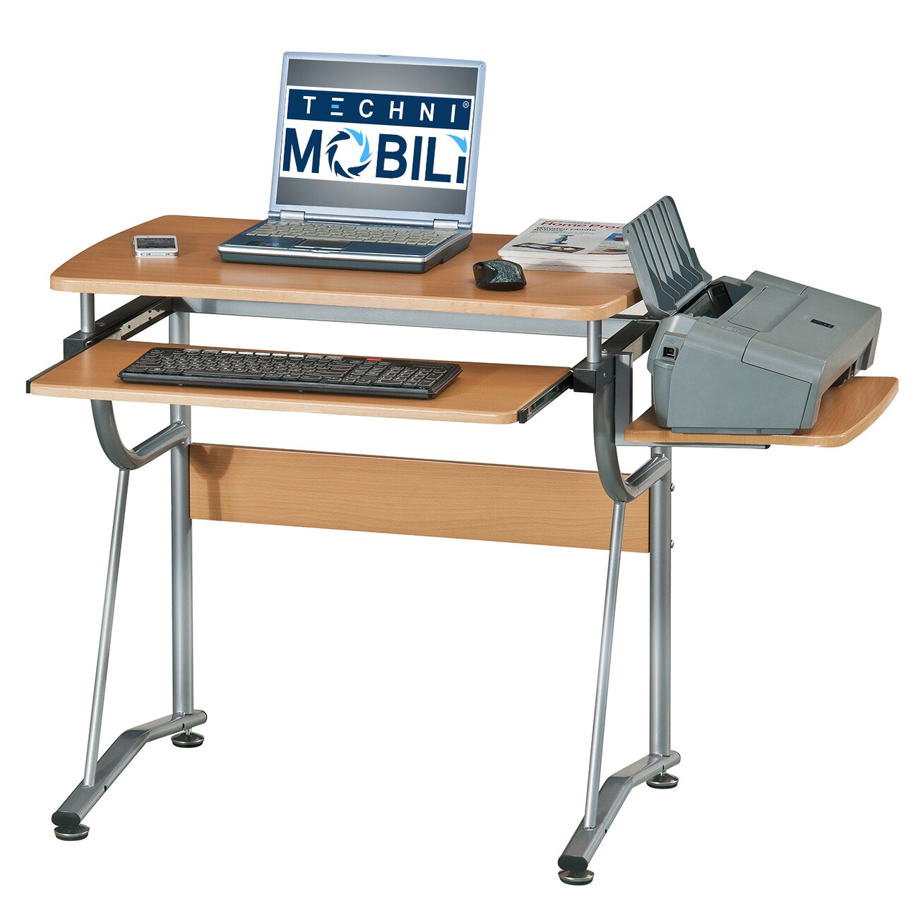 Techni Mobili Compact Computer Desk With Keyboard Tray And