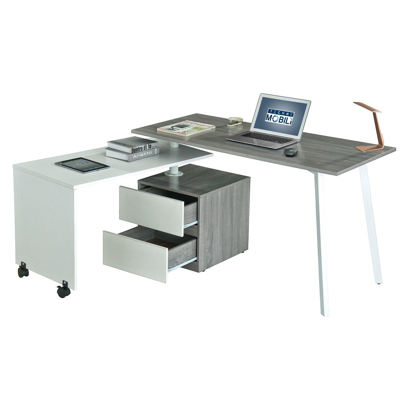 l techni dp kitchen shaped with corner dining com tempered chocolate mobili color glass amazon drawer computer desk