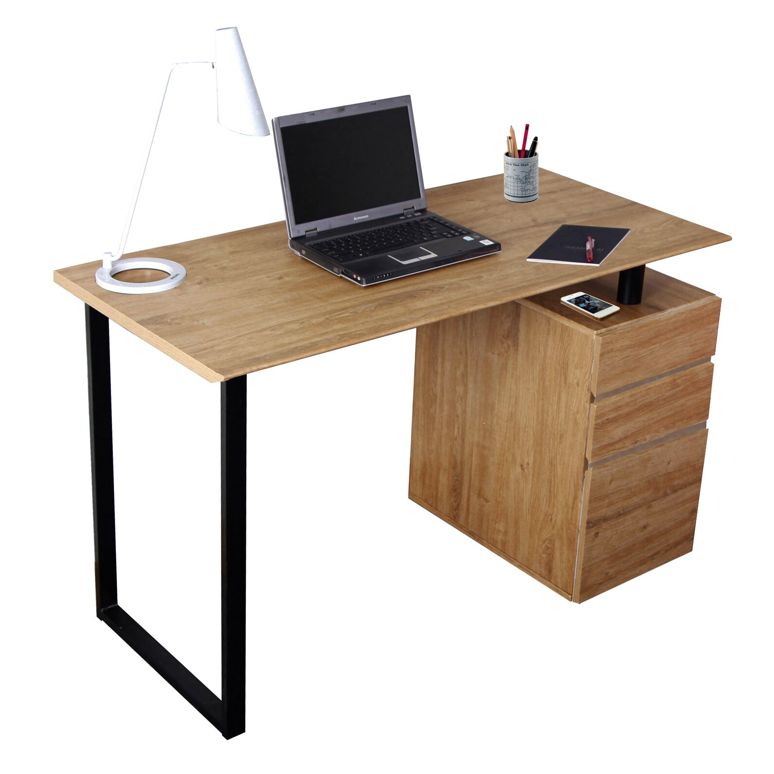 Desk Cabinet: Techni Mobili Computer Desk With Storage And File Cabinet