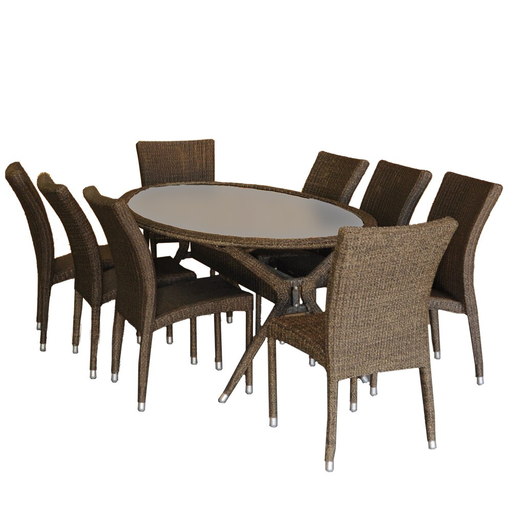 International home miami bari 9 piece dining set reviews for Outdoor furniture 9 piece