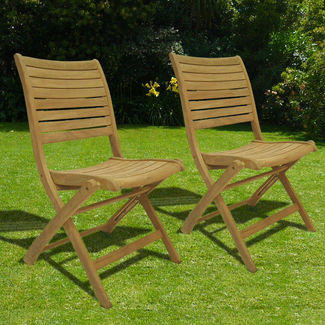 International Home Miami Amazionia Teak Sydney Folding Dining Side Chair Set Of 2 Reviews