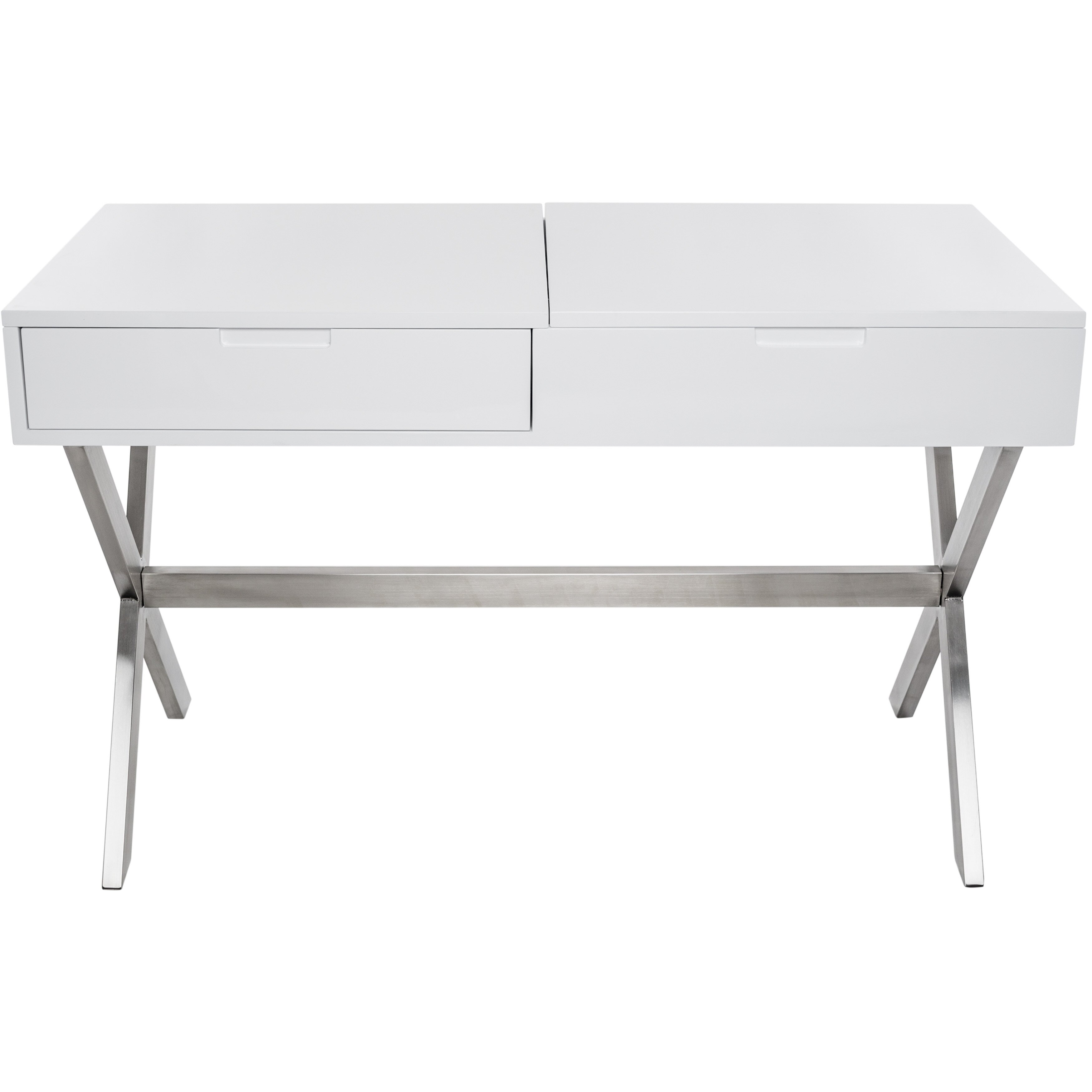 Matrix porsha desk vanity set with mirror reviews wayfair for Vanity desk set
