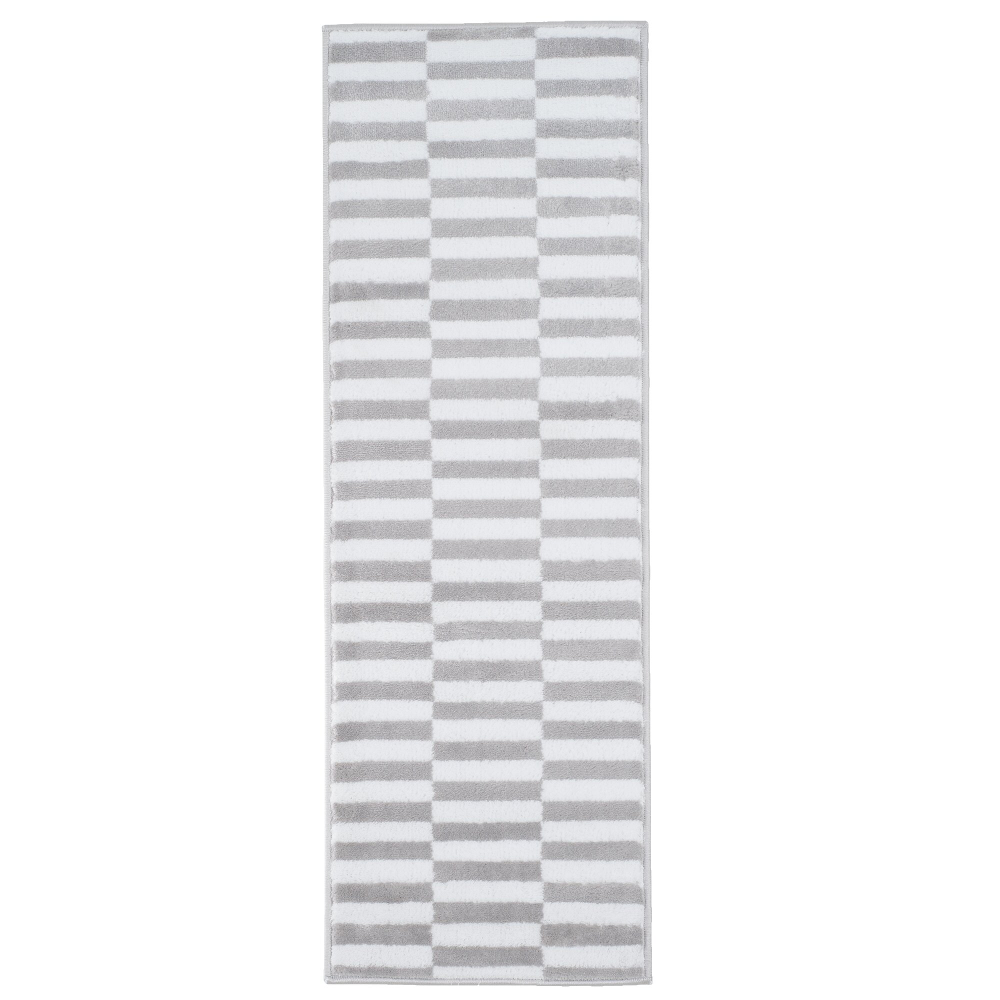 Checked Black Grey Rug: Lavish Home Grey & White Checkered Stripes Area Rug