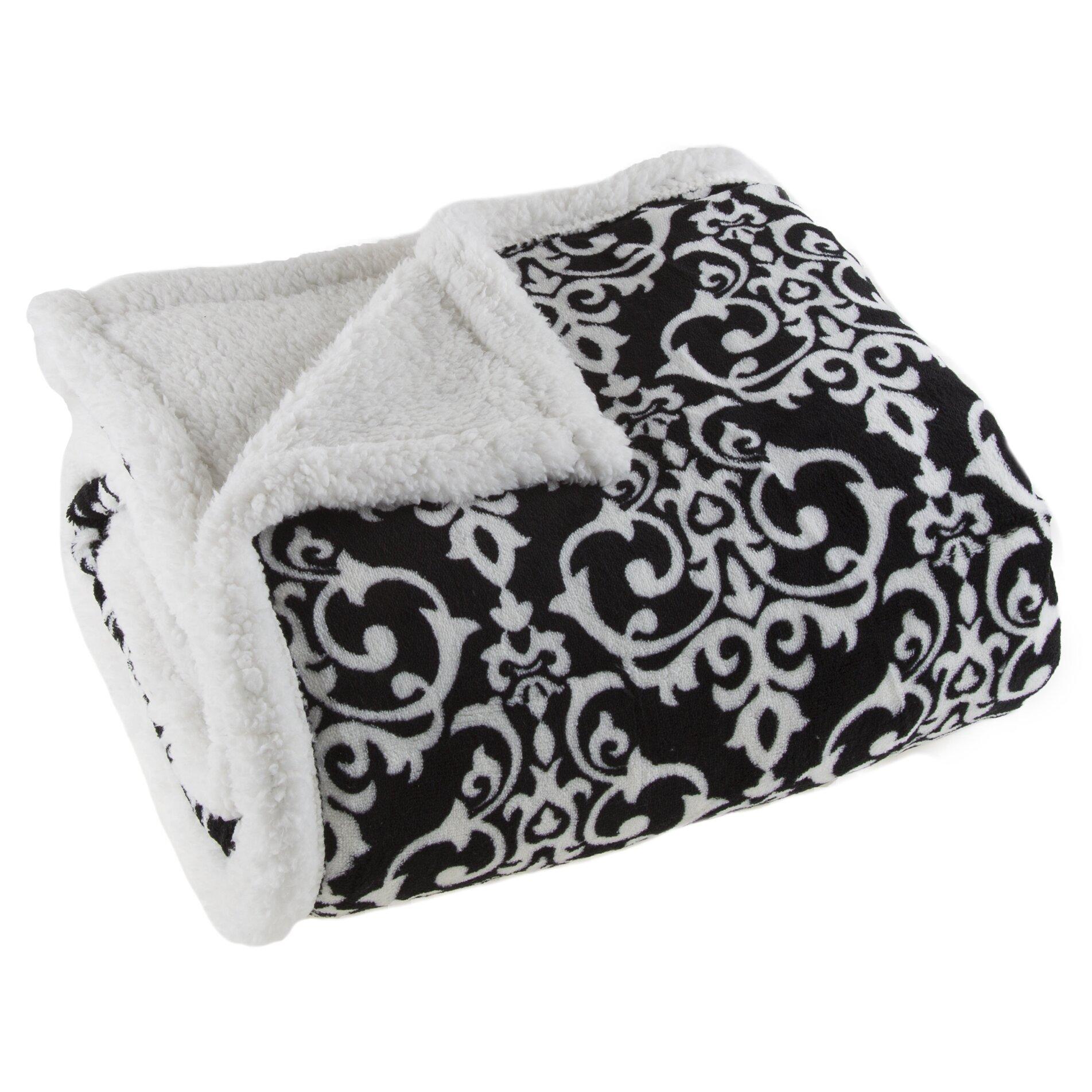 Lavish home damask sherpa fleece throw blanket reviews for Sherpa blanket