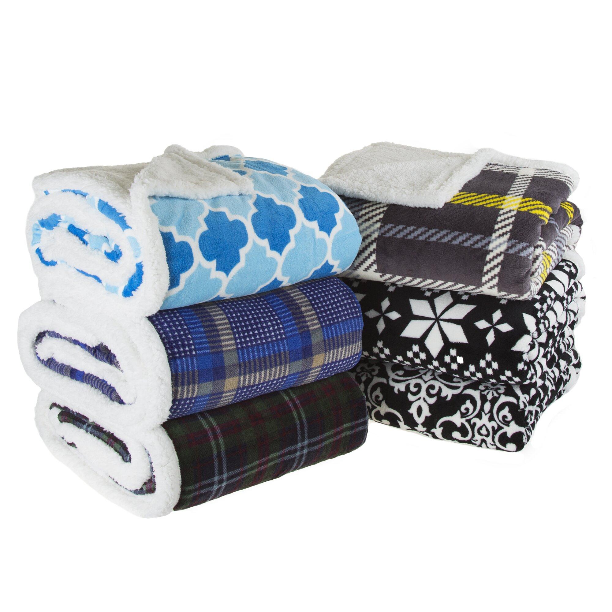 Lavish Home Plaid Sherpa Fleece Throw Blanket Amp Reviews