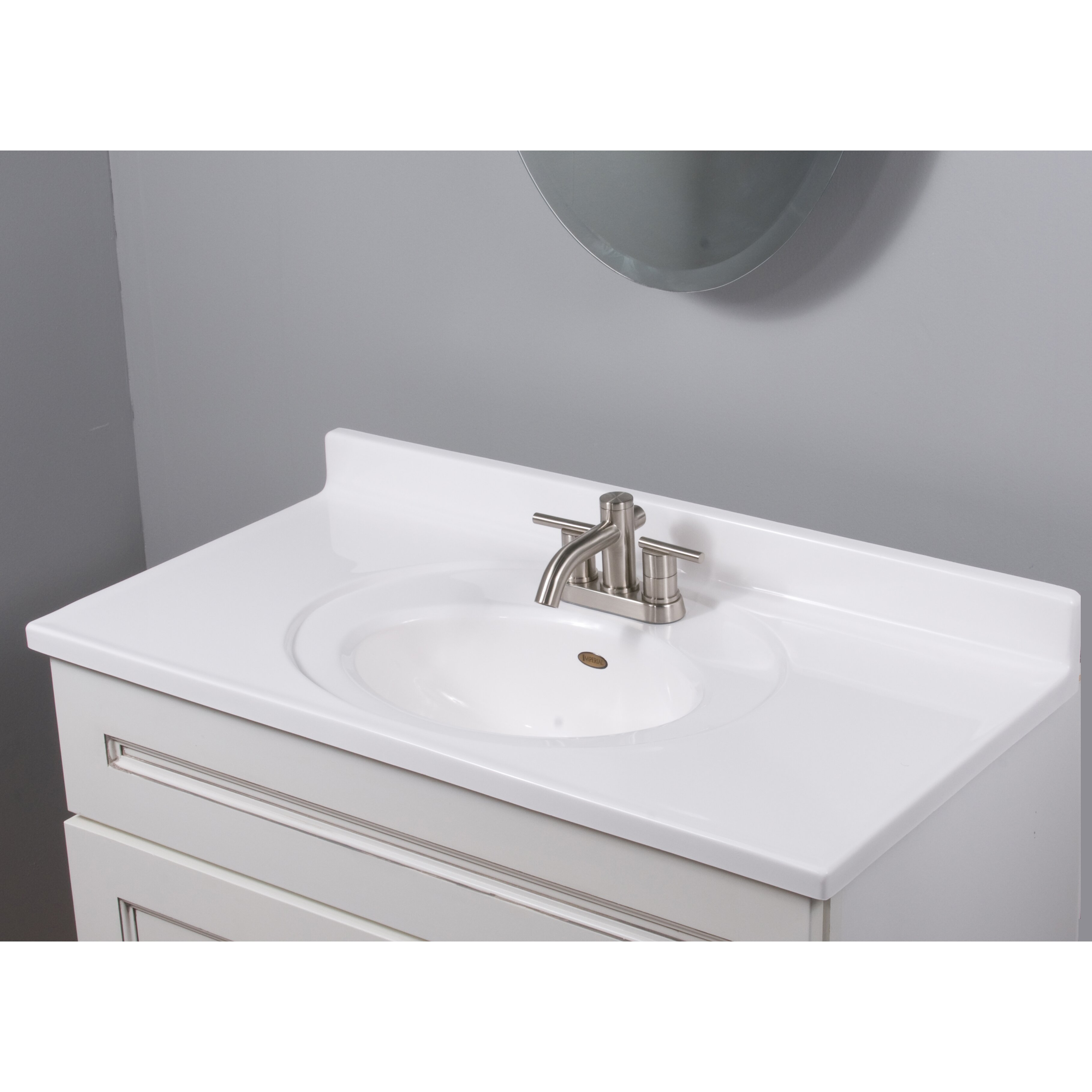 """Imperial Recessed Center Oval Bowl 37"""" Single Bathroom Vanity Top &"""