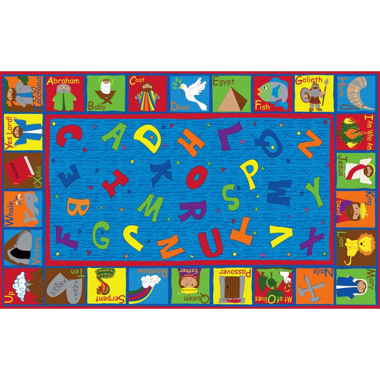 Kid Carpet Bible Sunday School With ABCs Blue Area Rug