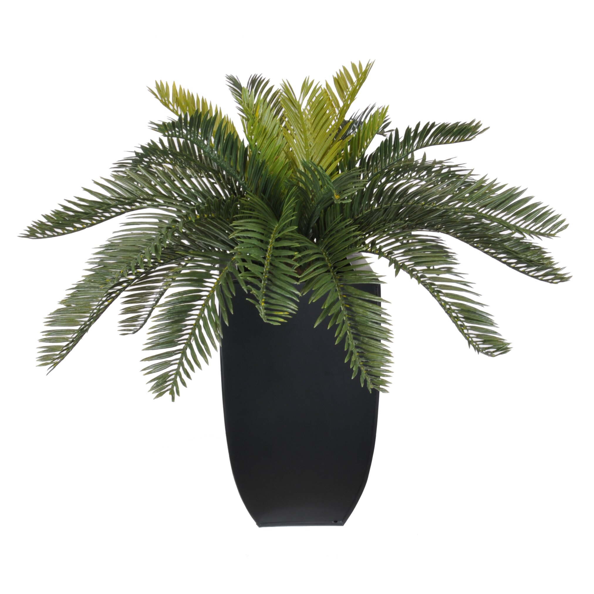 House of Silk Flowers Artificial Cycas Palm Floor Plant in  : Artificial Cycas Palm Floor Plant in Planter HF0338 BLK from www.wayfair.com size 2024 x 2024 jpeg 499kB