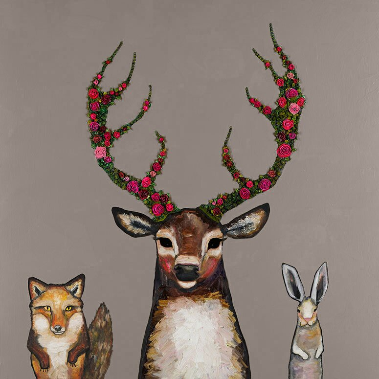 Greenbox Art Fox Buck Hare By Eli Halpin Painting Print
