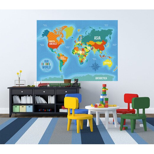 Oopsy daisy our colorful world wall mural wayfair for Daisy fuentes wall mural