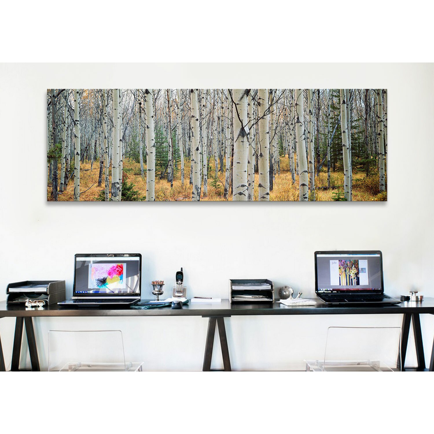 Icanvas panoramic aspen trees in a forest alberta canada for Wayfair home decor canada