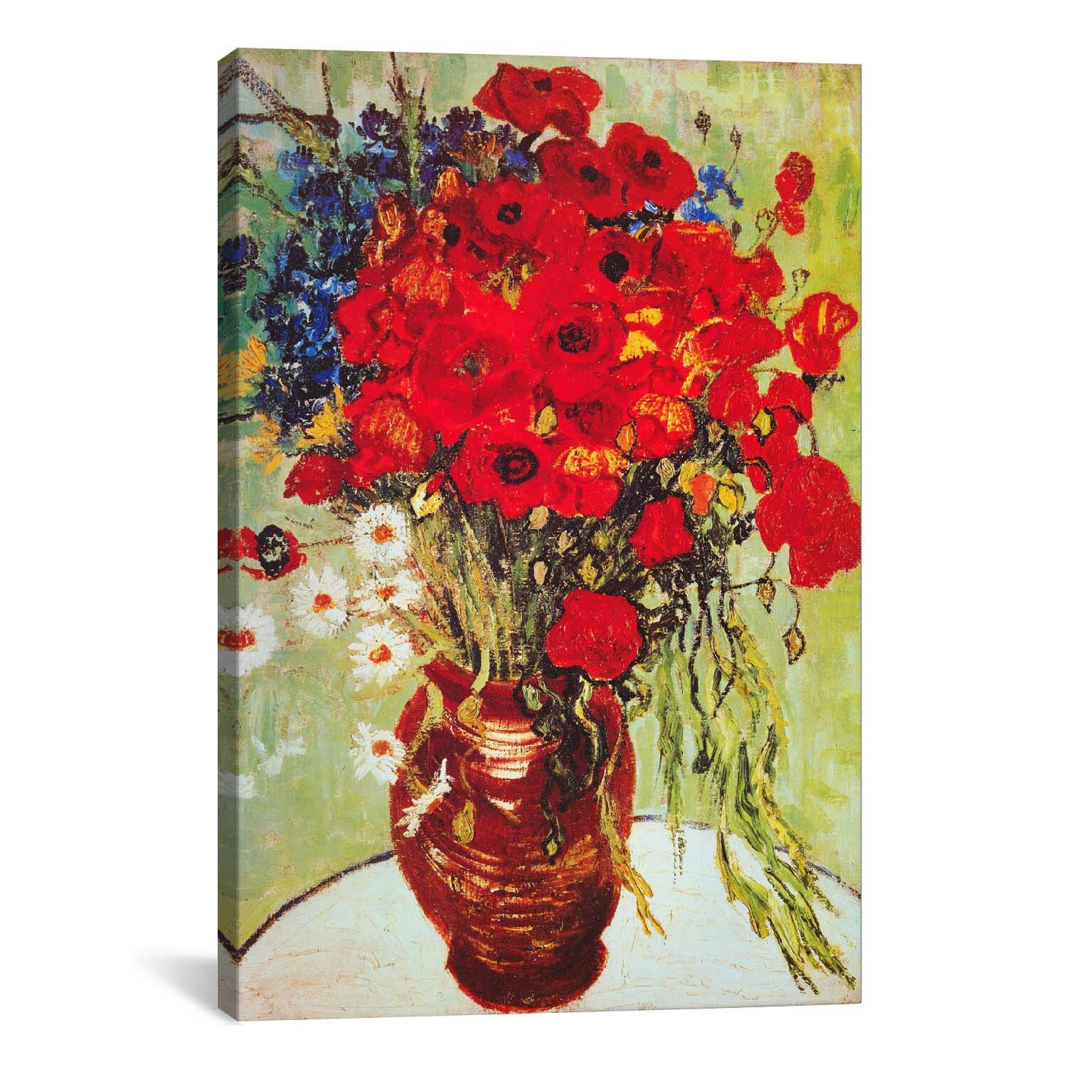 icanvas 39 vase with daisies and poppies 39 by vincent van. Black Bedroom Furniture Sets. Home Design Ideas