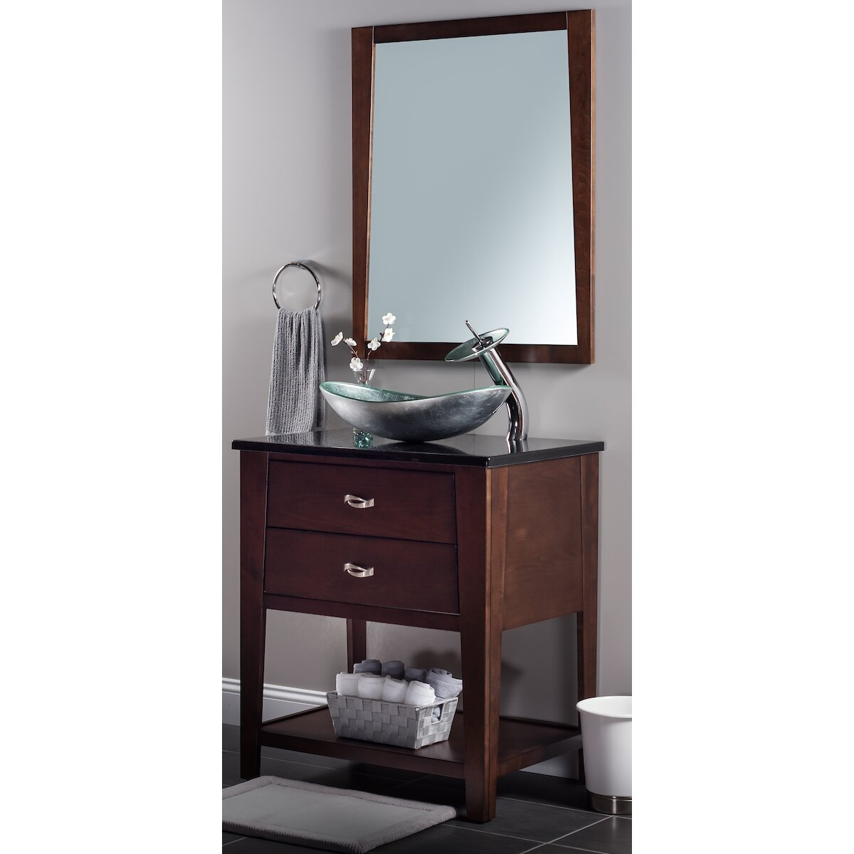 Novatto argento oval vessel bathroom sink set for Bath toilet and sink sets