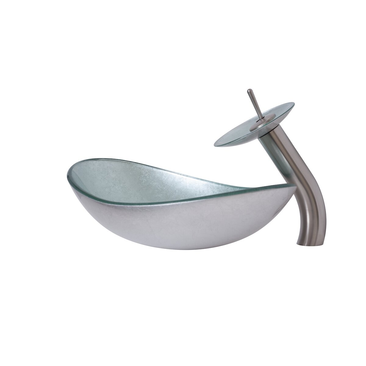 Novatto argento oval vessel bathroom sink set wayfair for Kitchen set vessels
