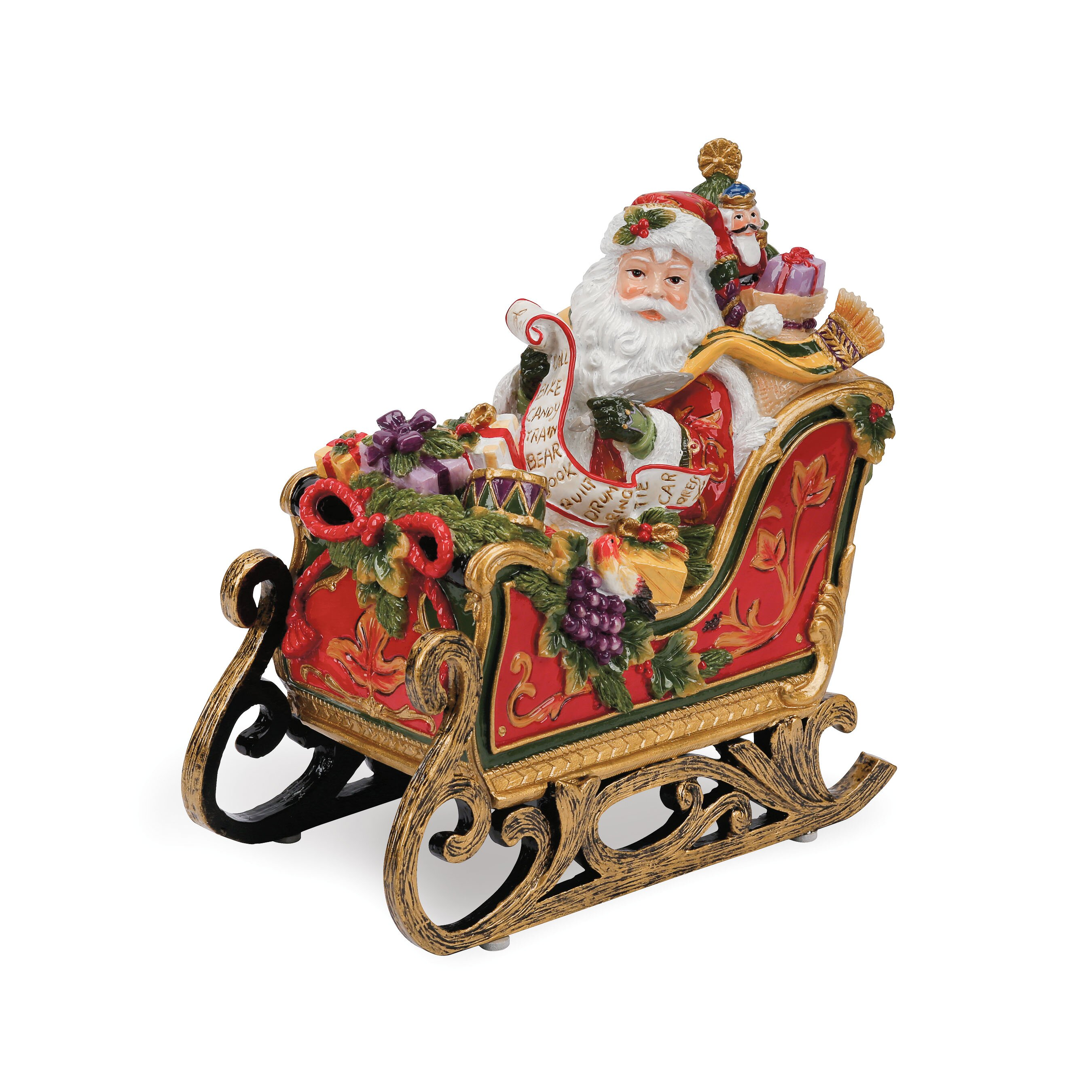 Fitz and floyd regal holiday santa in sleigh musical