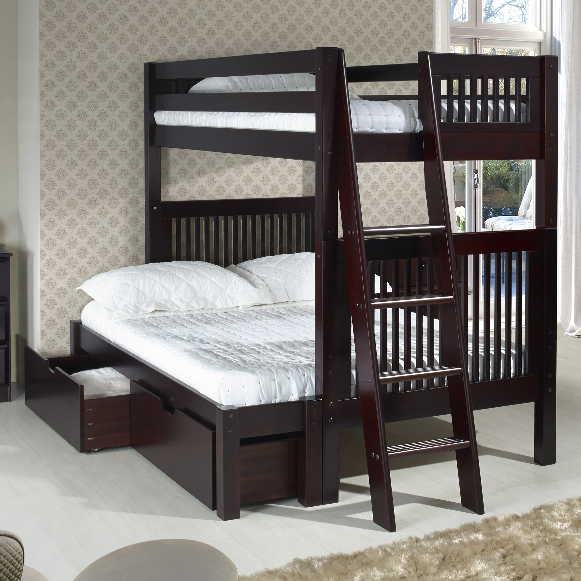 Camaflexi twin over full bunk bed with storage wayfair for Twin bed with storage