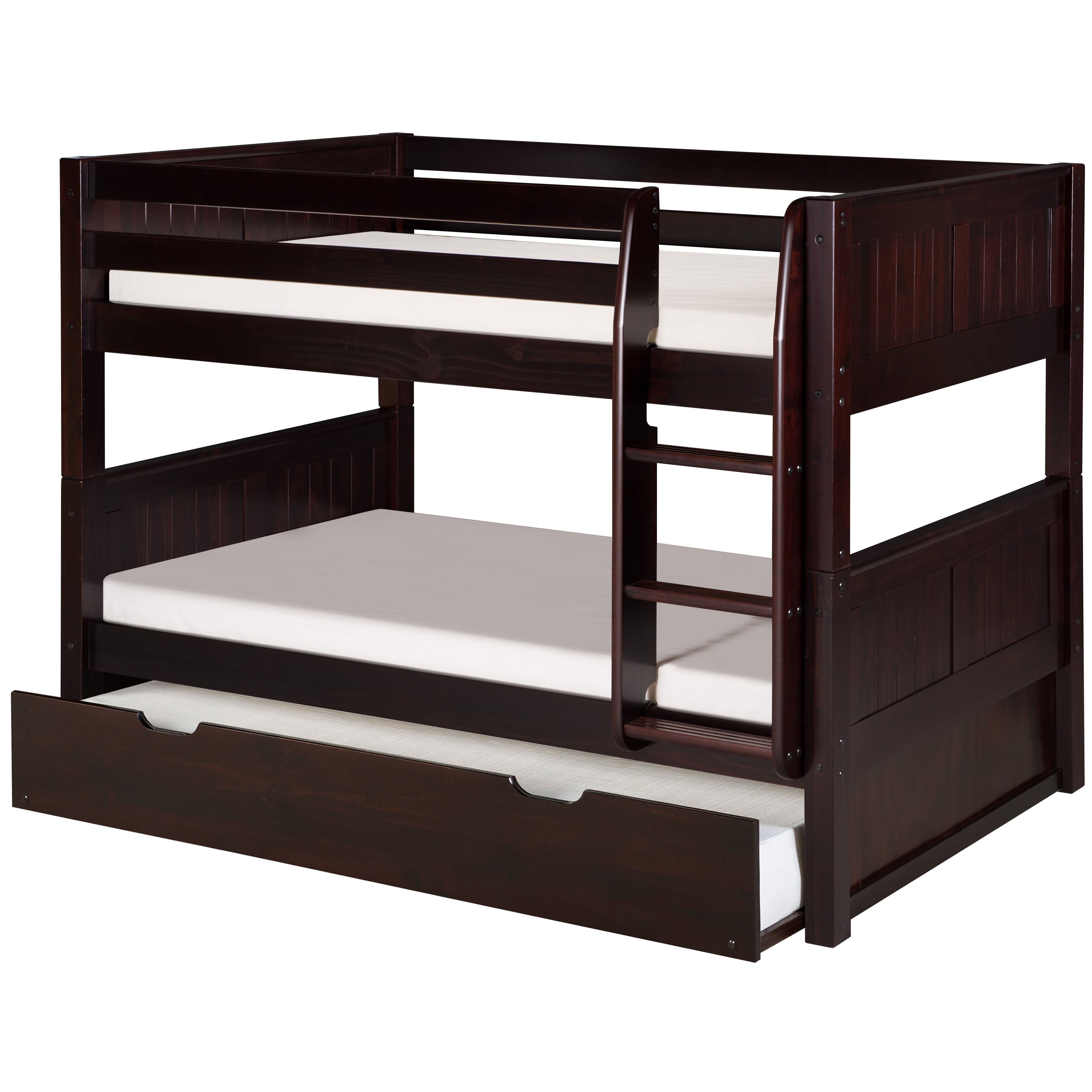 Camaflexi camaflexi low twin bunk bed with trundle for Loft bed with trundle
