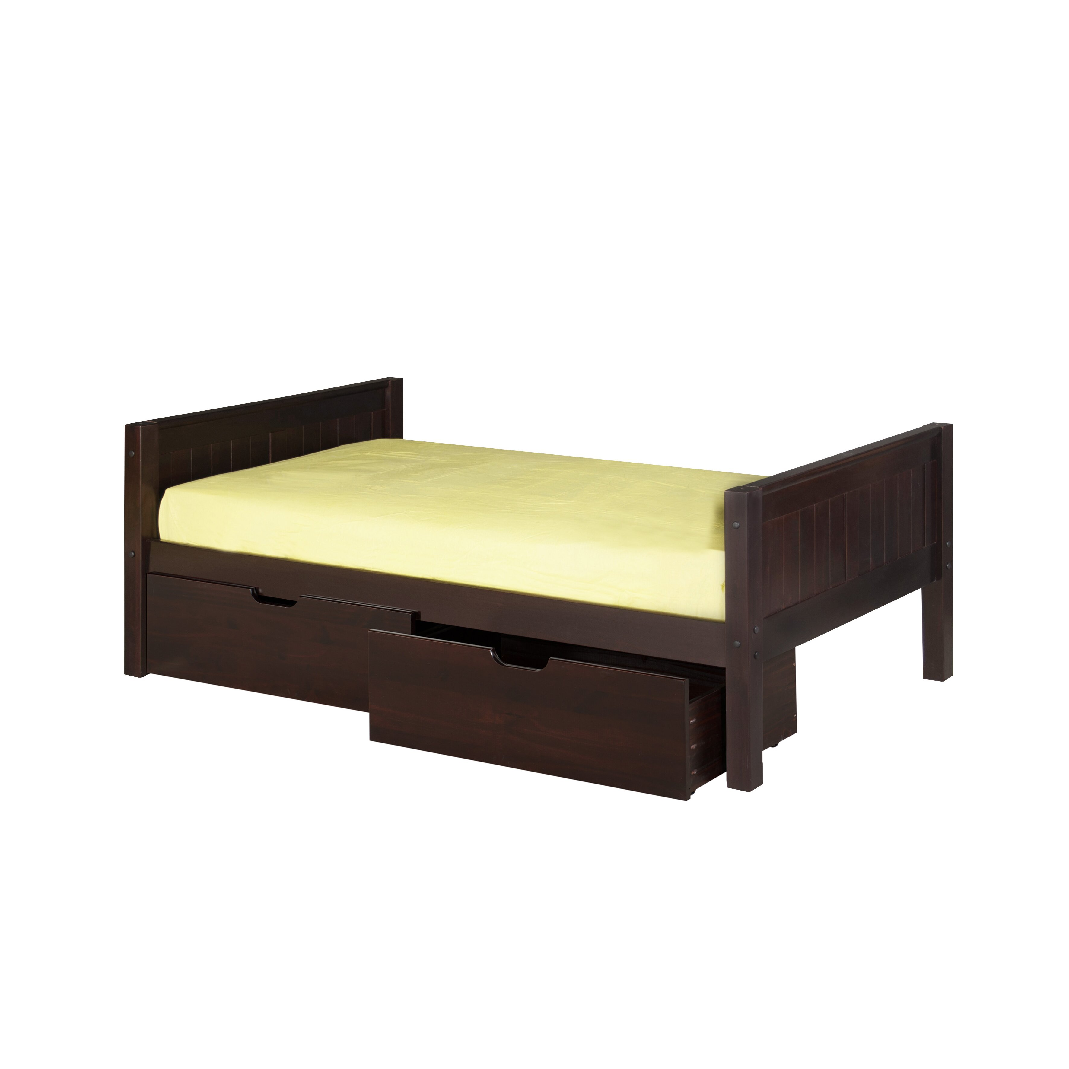 Camaflexi twin panel bed with drawers reviews wayfair for Twin bed with drawers