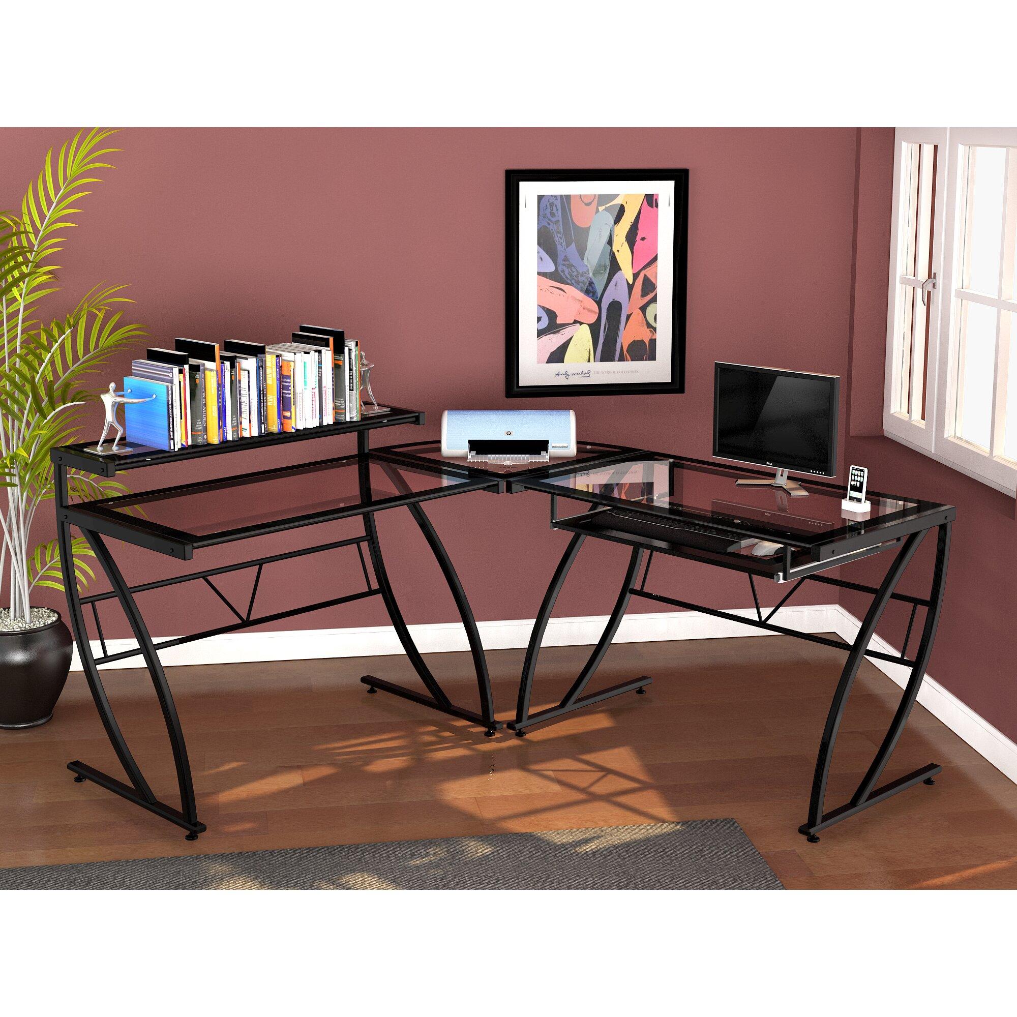 Z Line Designs Chandler Glass L Desk & Reviews