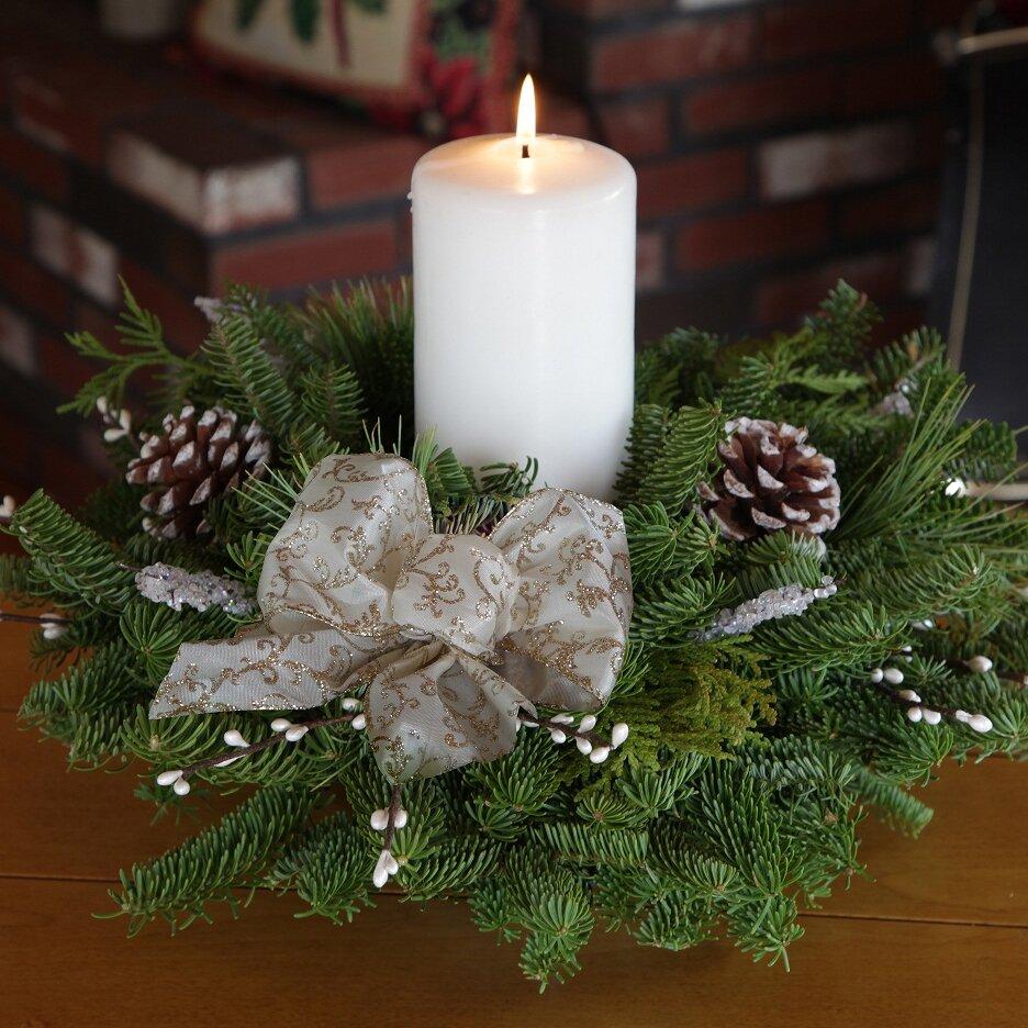 Pillar Candle Centerpiece : Worcester wreath winter elegance pillar candle centerpiece