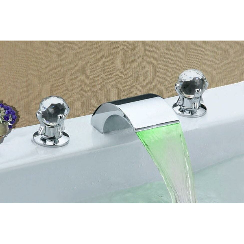 Double Faucet Sink : Sumerain Double Handle Widespread LED Waterfall Bathroom Sink Faucet ...