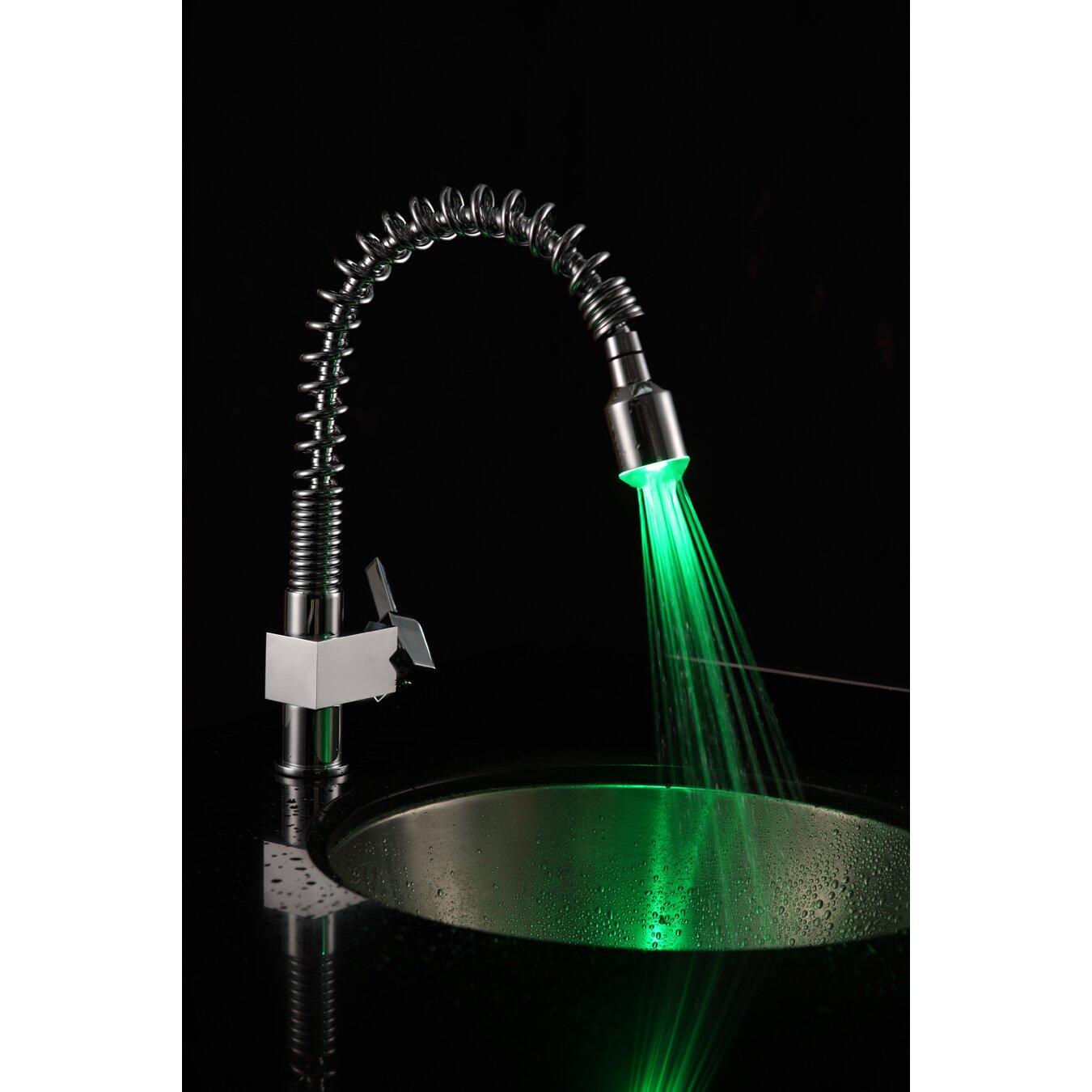 sumerain single handle deck mount led kitchen faucet with