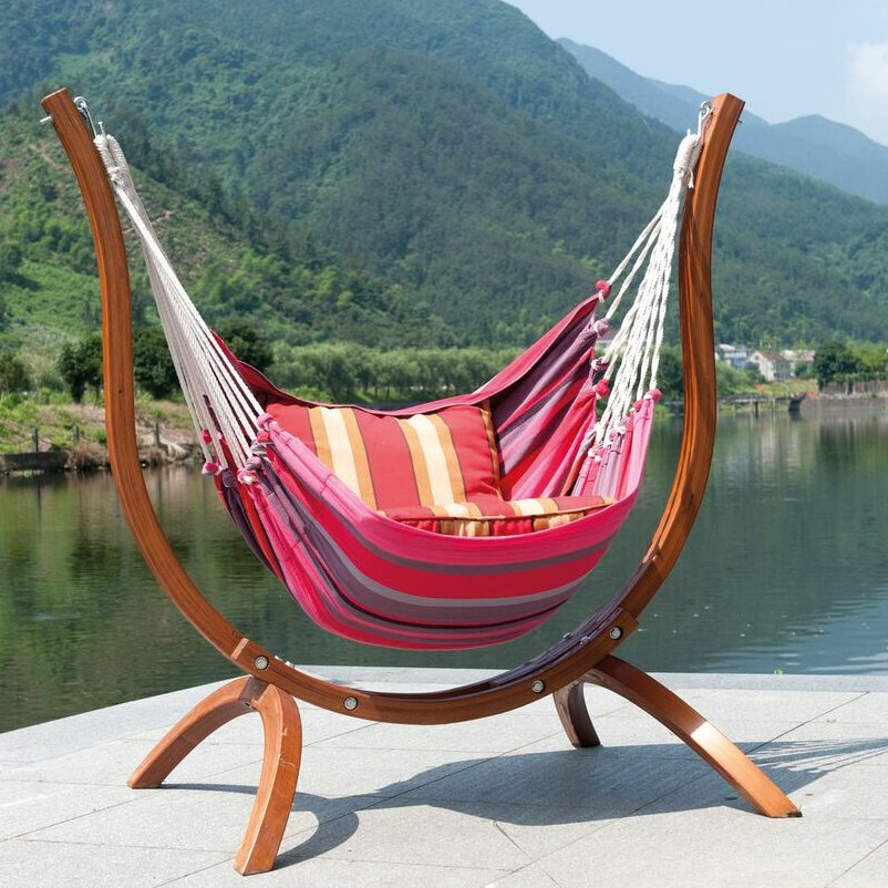 Backyard Hammock Reviews : Outdoor Living Patagonia Wooden Striped Chair Hammock & Reviews