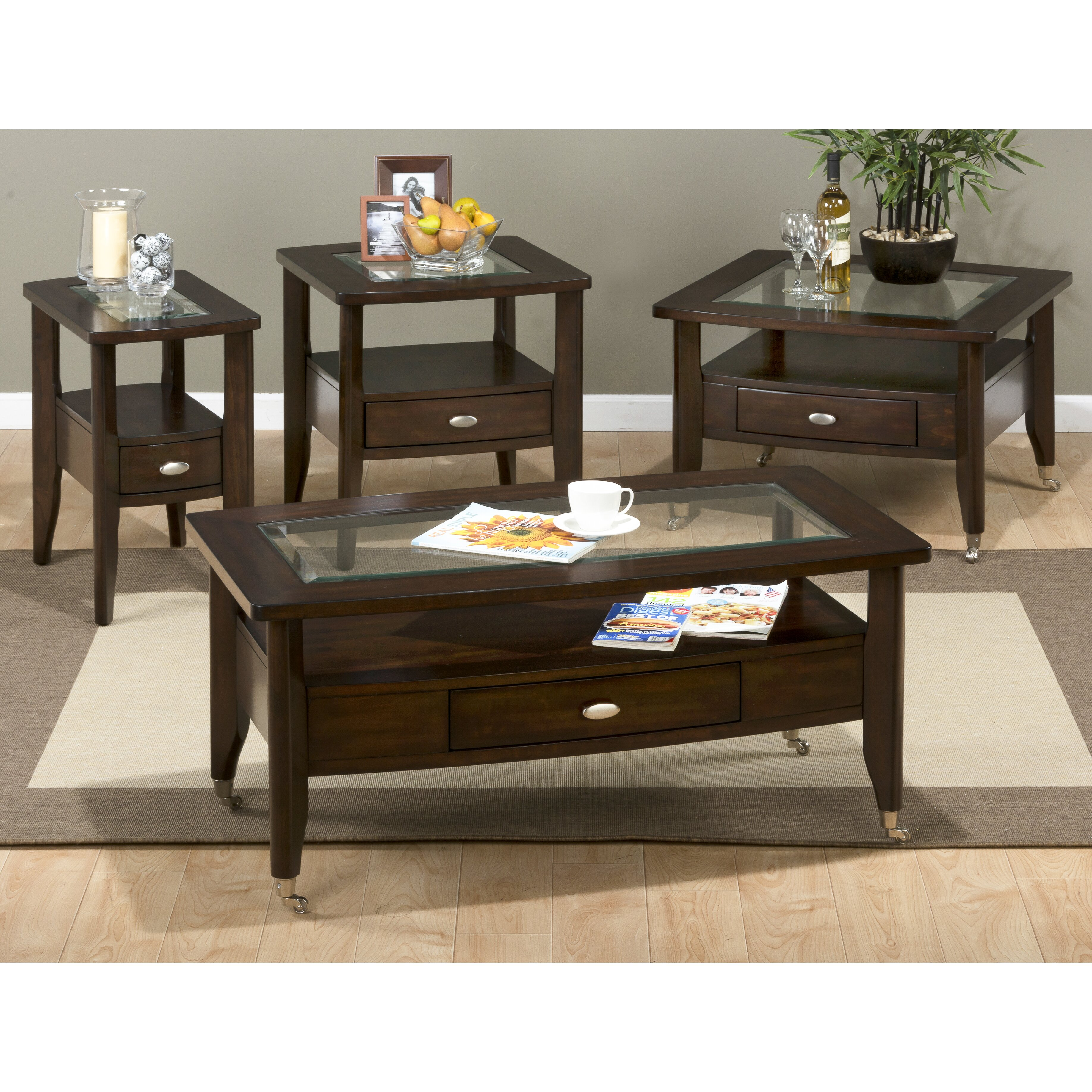 Jofran Montego Merlot Coffee Table Set Reviews Wayfair