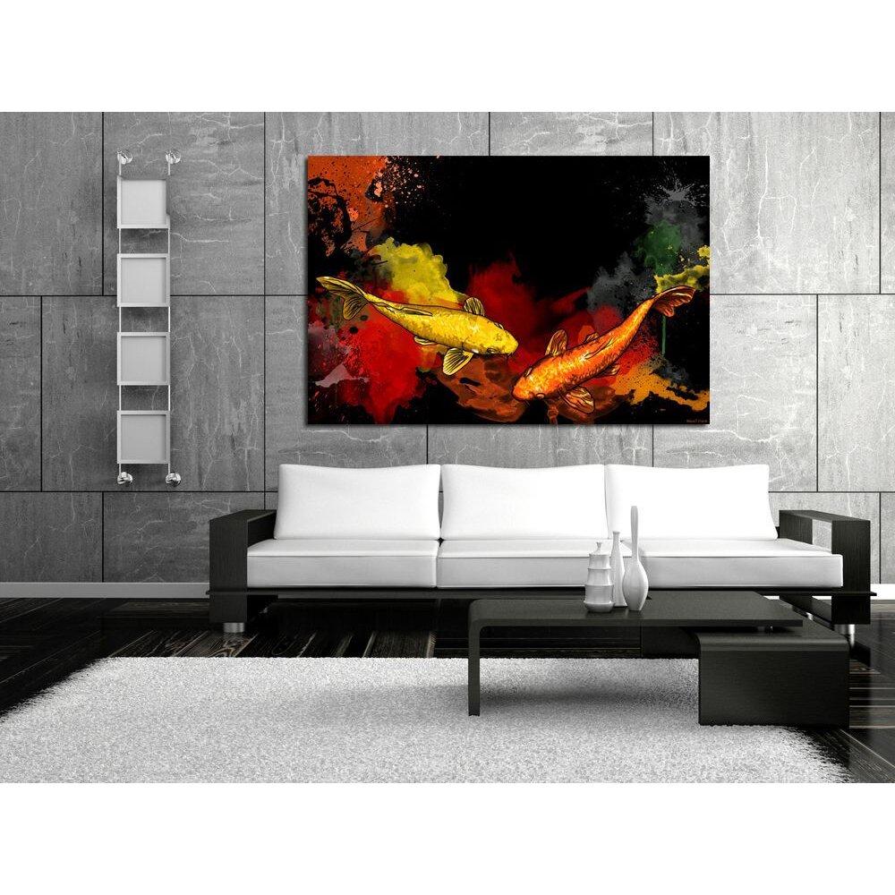 Maxwell dickson 39 koi fish 39 asian graffiti painting print for Koi fish canvas art