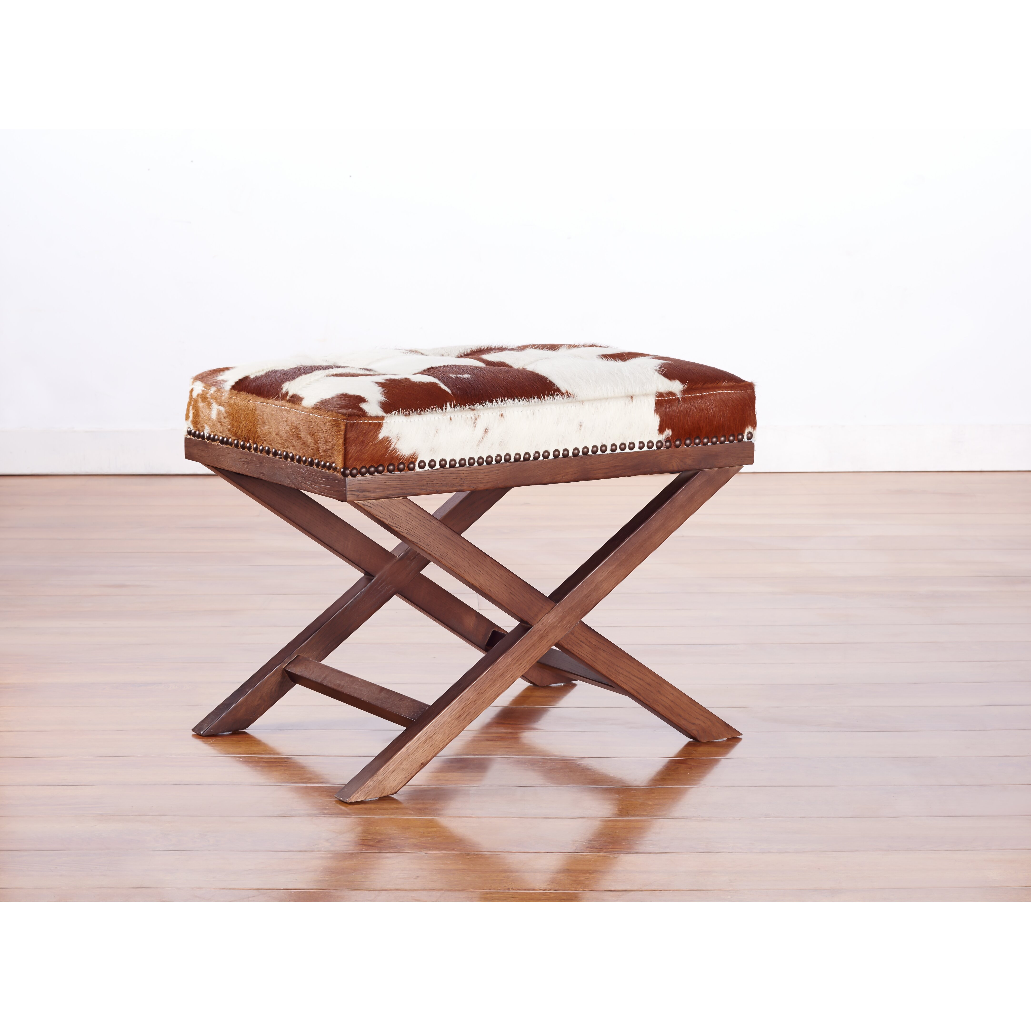 Tov moo x genuine cowhide ottoman reviews wayfair for Furniture courier