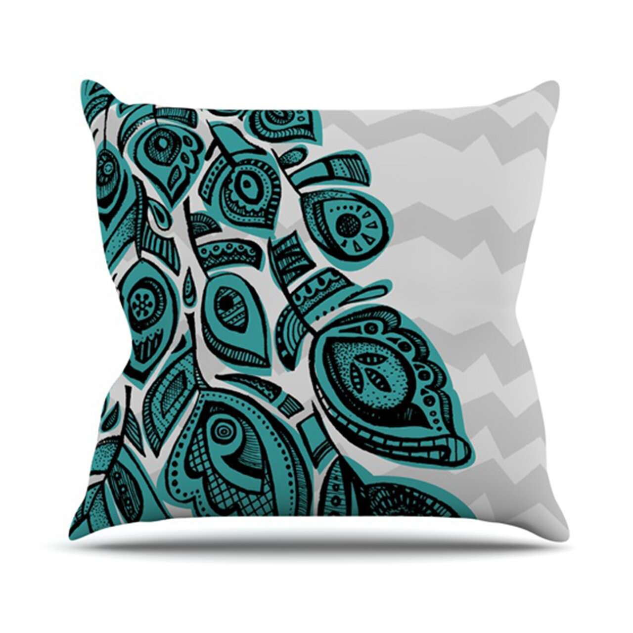 Peacock Blue Throw Pillow : KESS InHouse Peacock Throw Pillow & Reviews Wayfair
