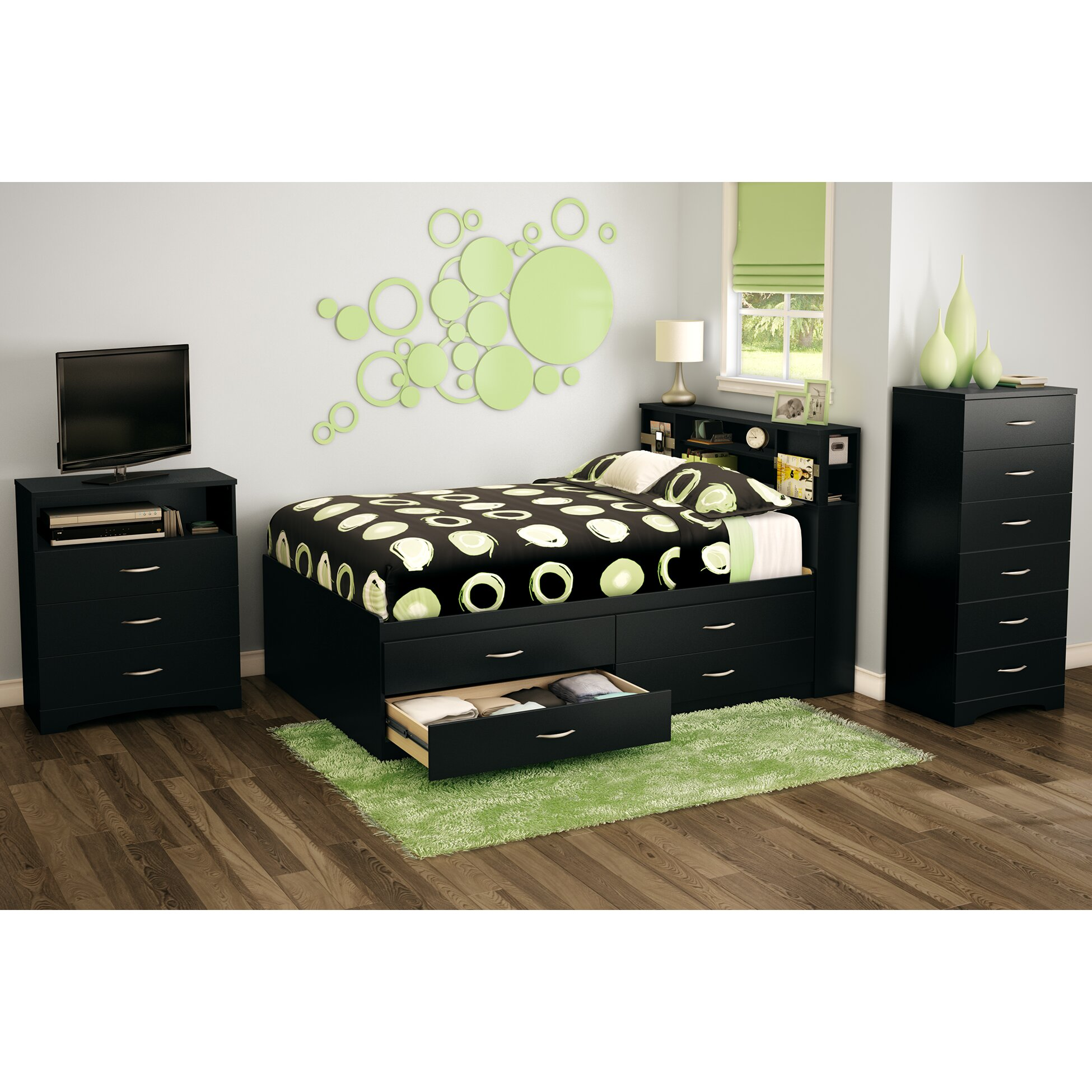 South shore full storage platform bed reviews wayfair for Complete bedroom sets with mattress