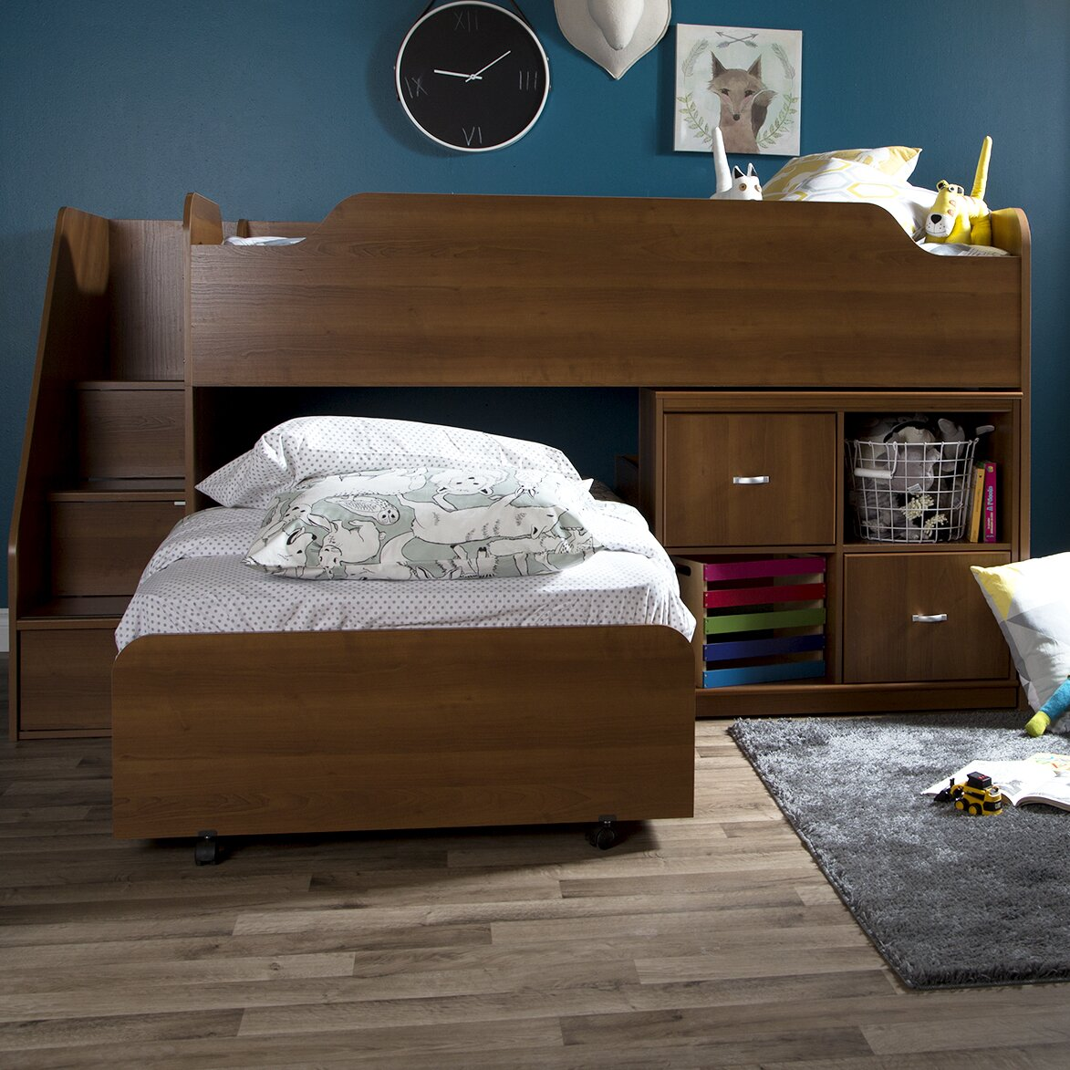 south shore mobby twin loft bed with trundle and storage. Black Bedroom Furniture Sets. Home Design Ideas