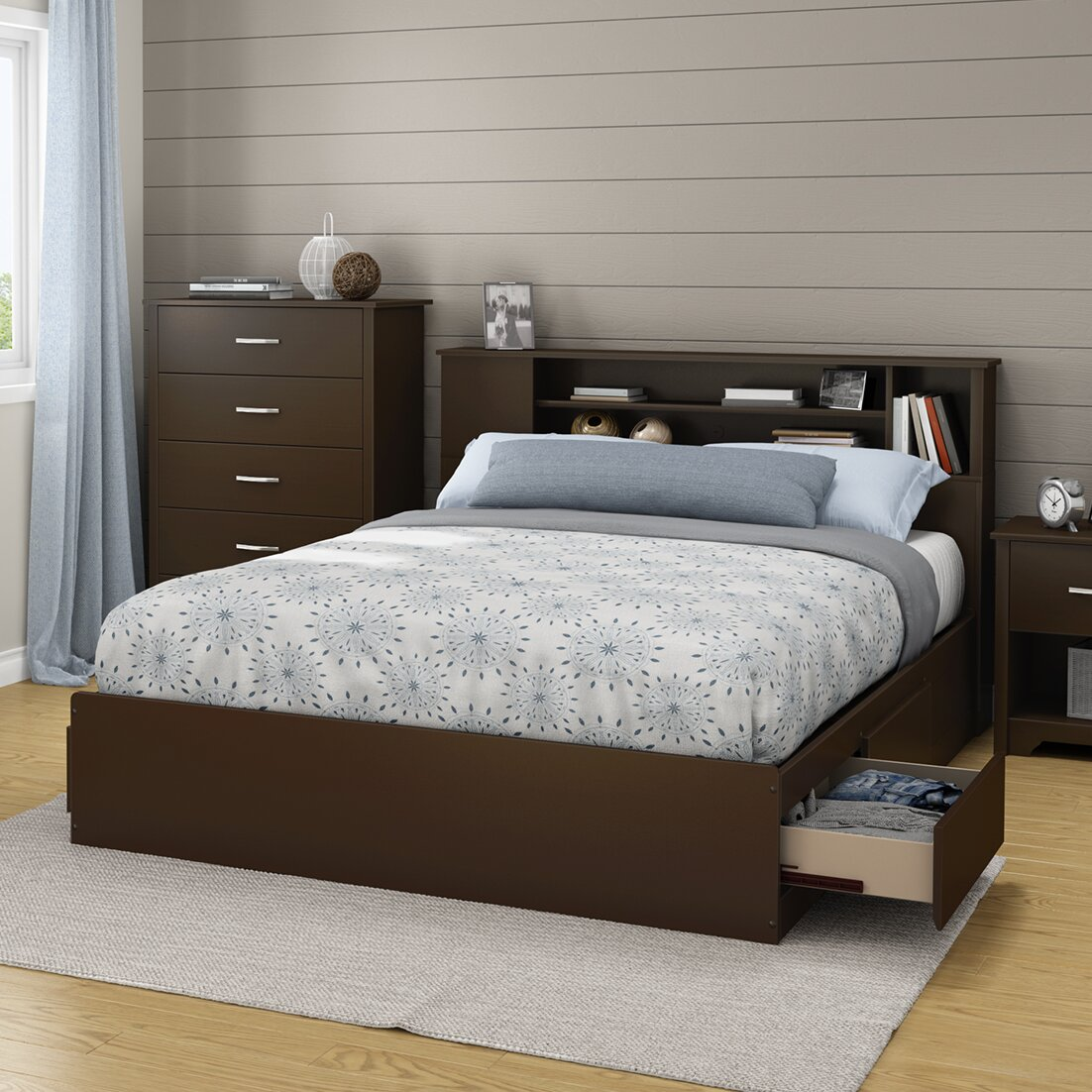south shore fusion 4025in tall queen platform bed