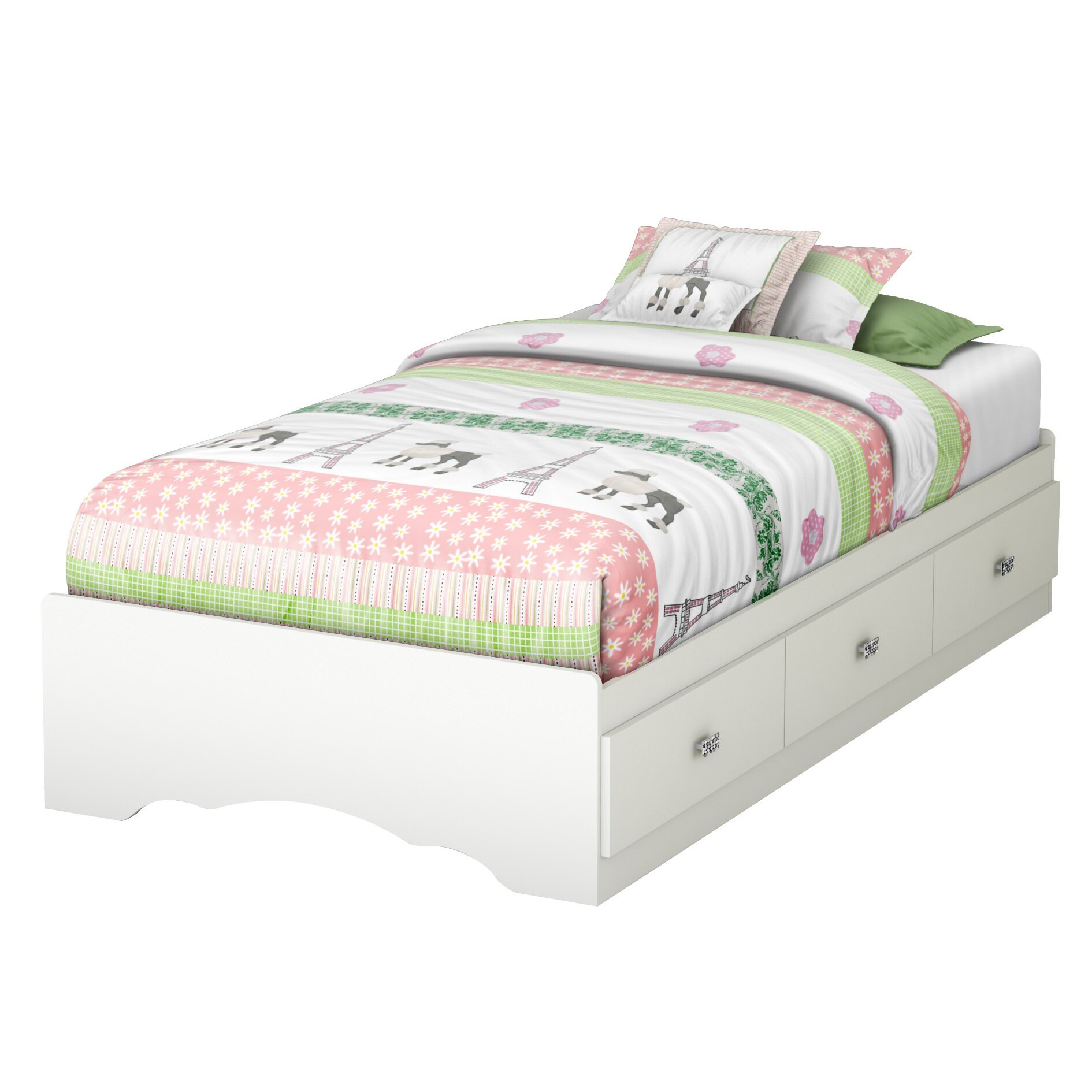 South Shore Tiara Twin Platform Customizable Bedroom Set