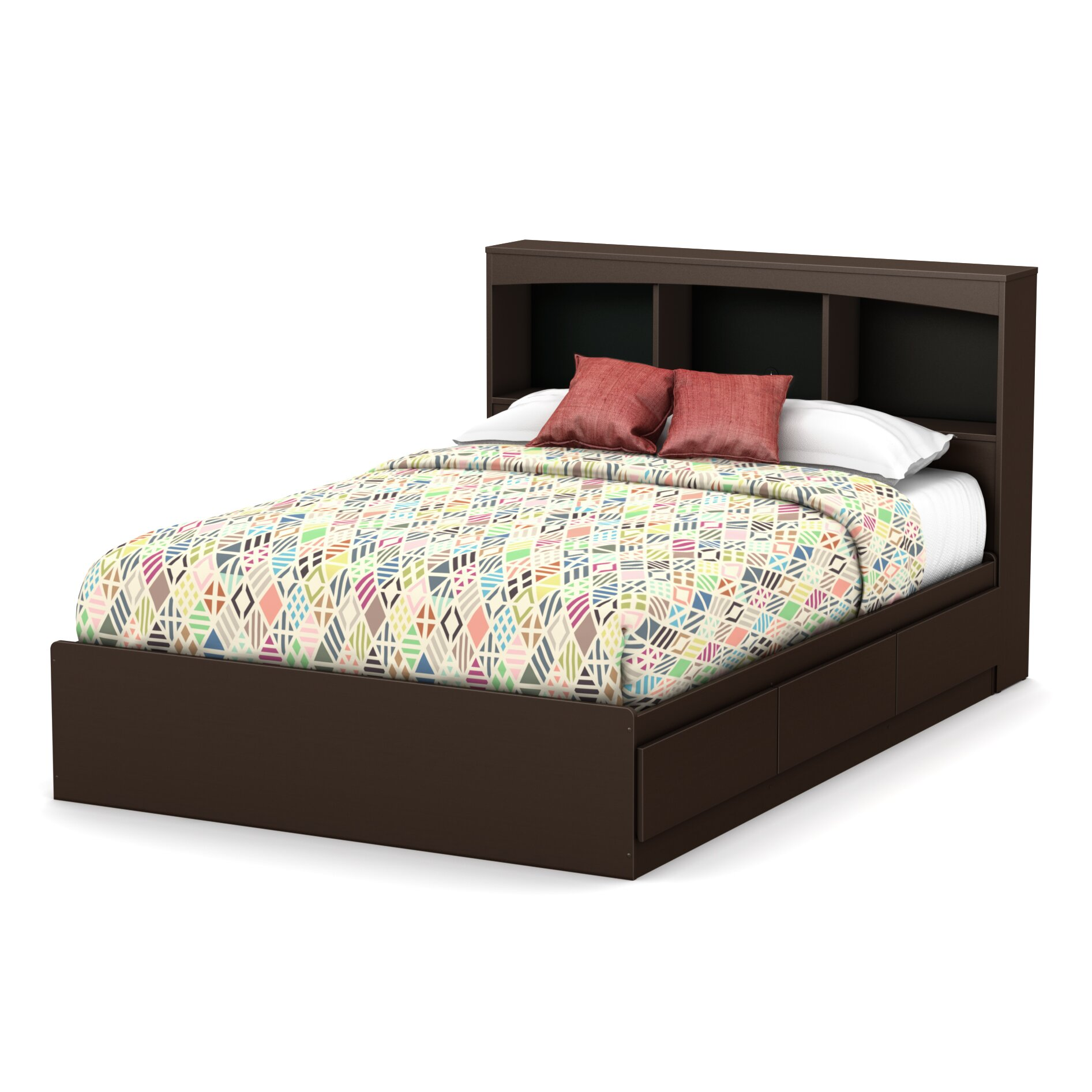South shore step one full mate 39 s bed with storage for Full size bed frame and dresser