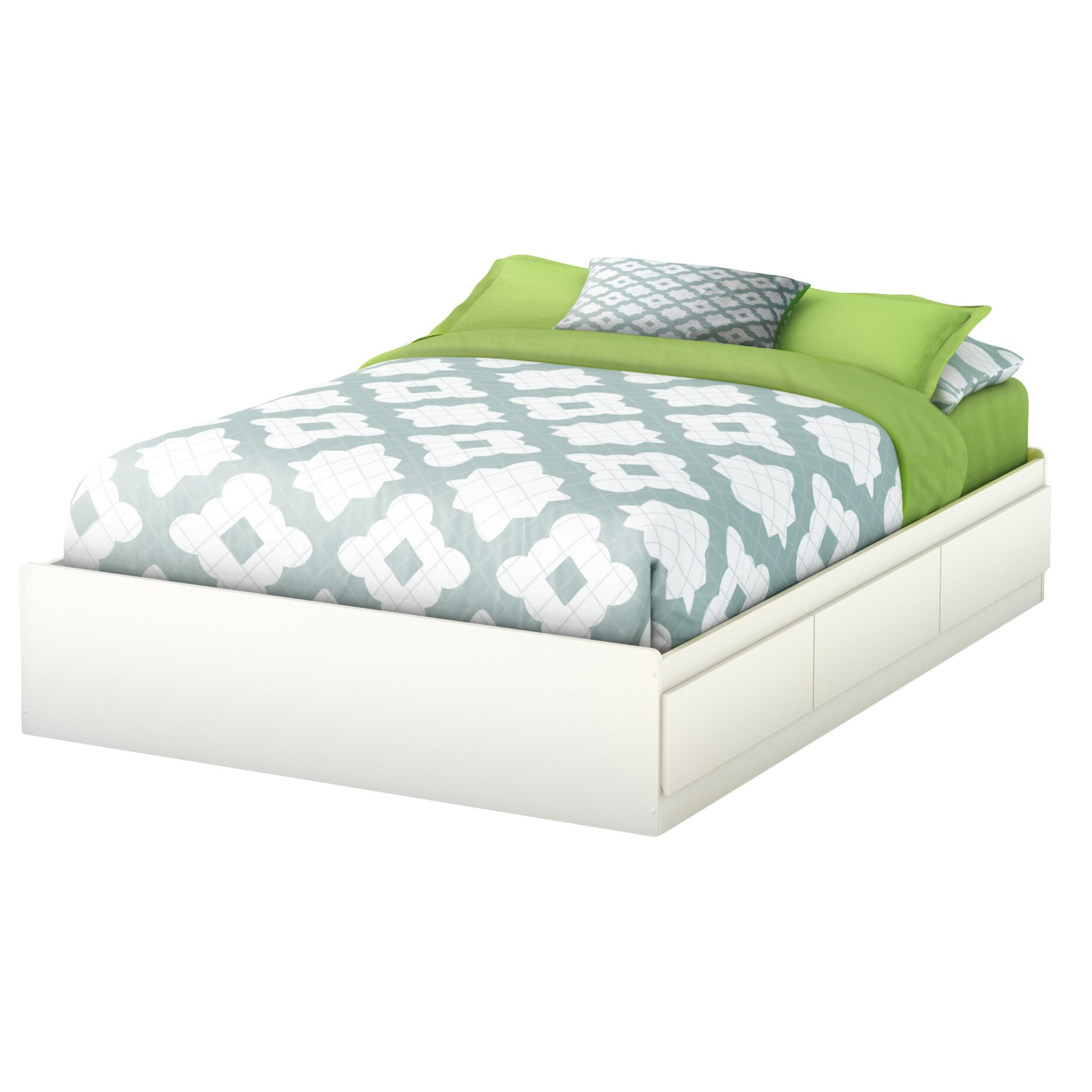 South shore full double storage platform bed reviews for Pedestal bed
