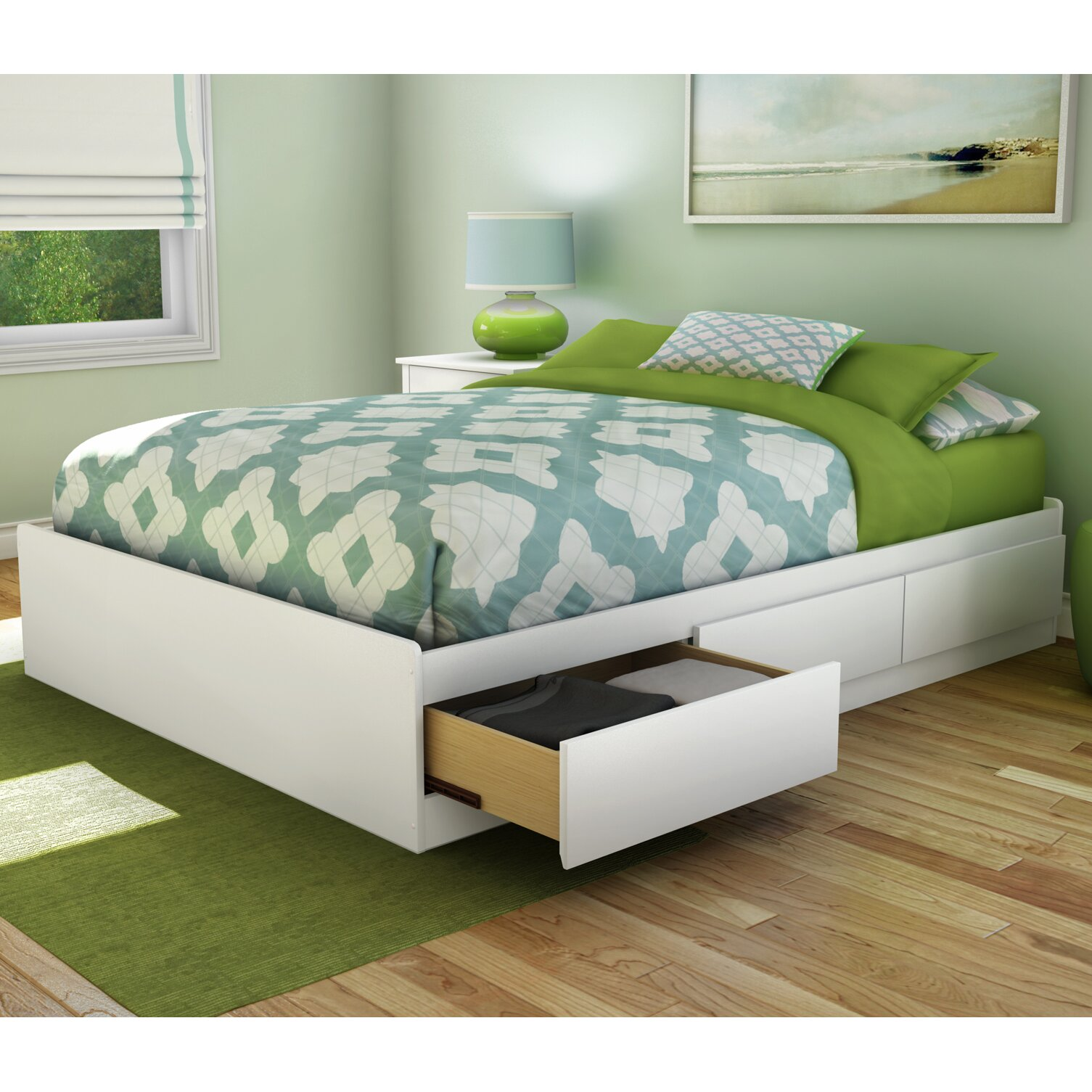 south shore step one full double storage platform bed reviews wayfair. Black Bedroom Furniture Sets. Home Design Ideas