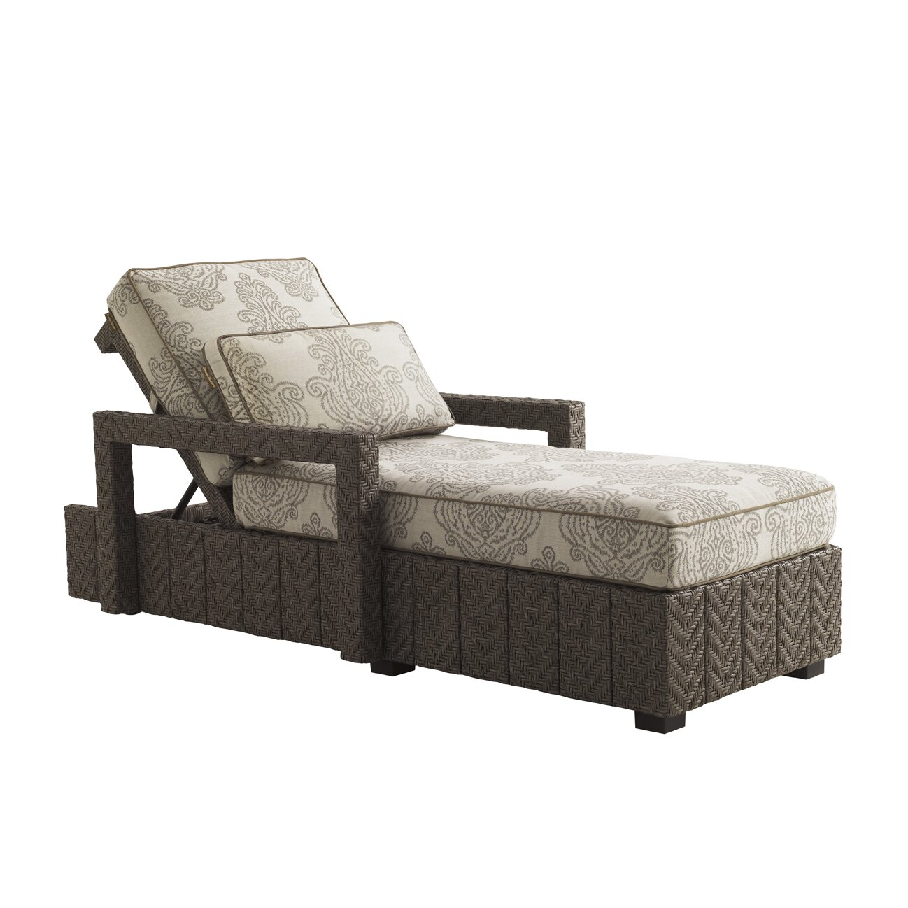 Tommy bahama outdoor blue olive chaise lounge with cushion for Blue chaise lounge cushions